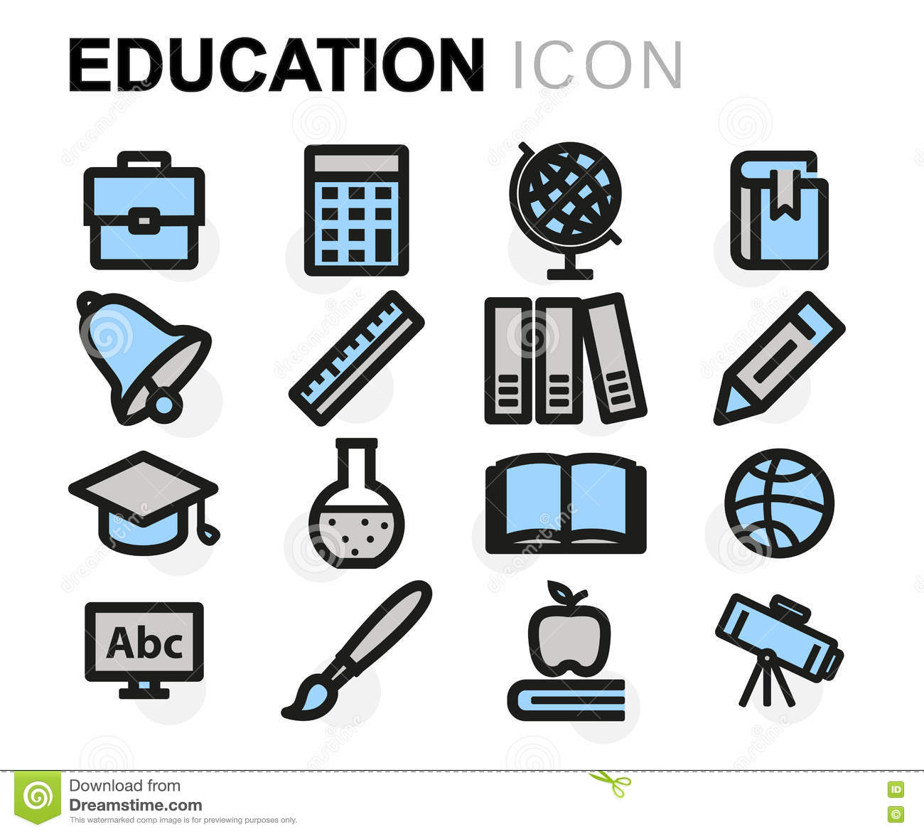Vector Flat Education Icons Set Stock Illustration - Image ...