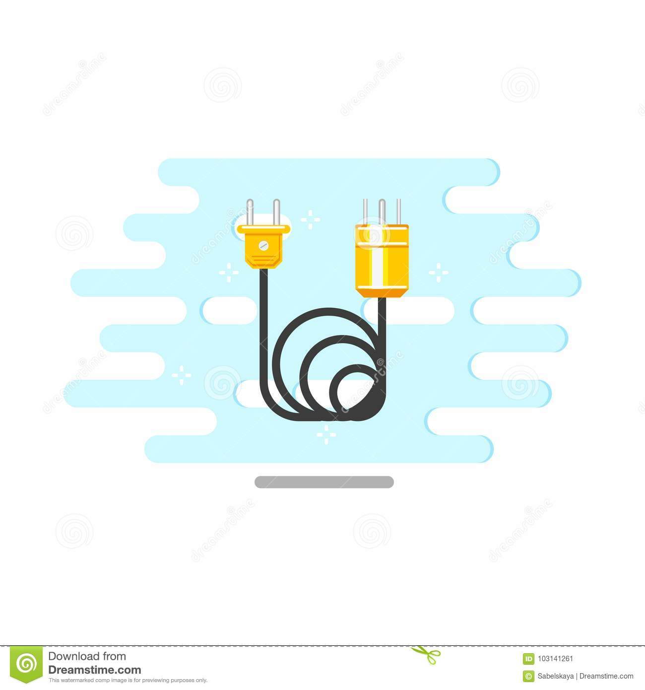 Vector Flat Electric Wire Cable With Plug Icon Stock Wiring Diagram Symbol Download Illustration Of Equipment