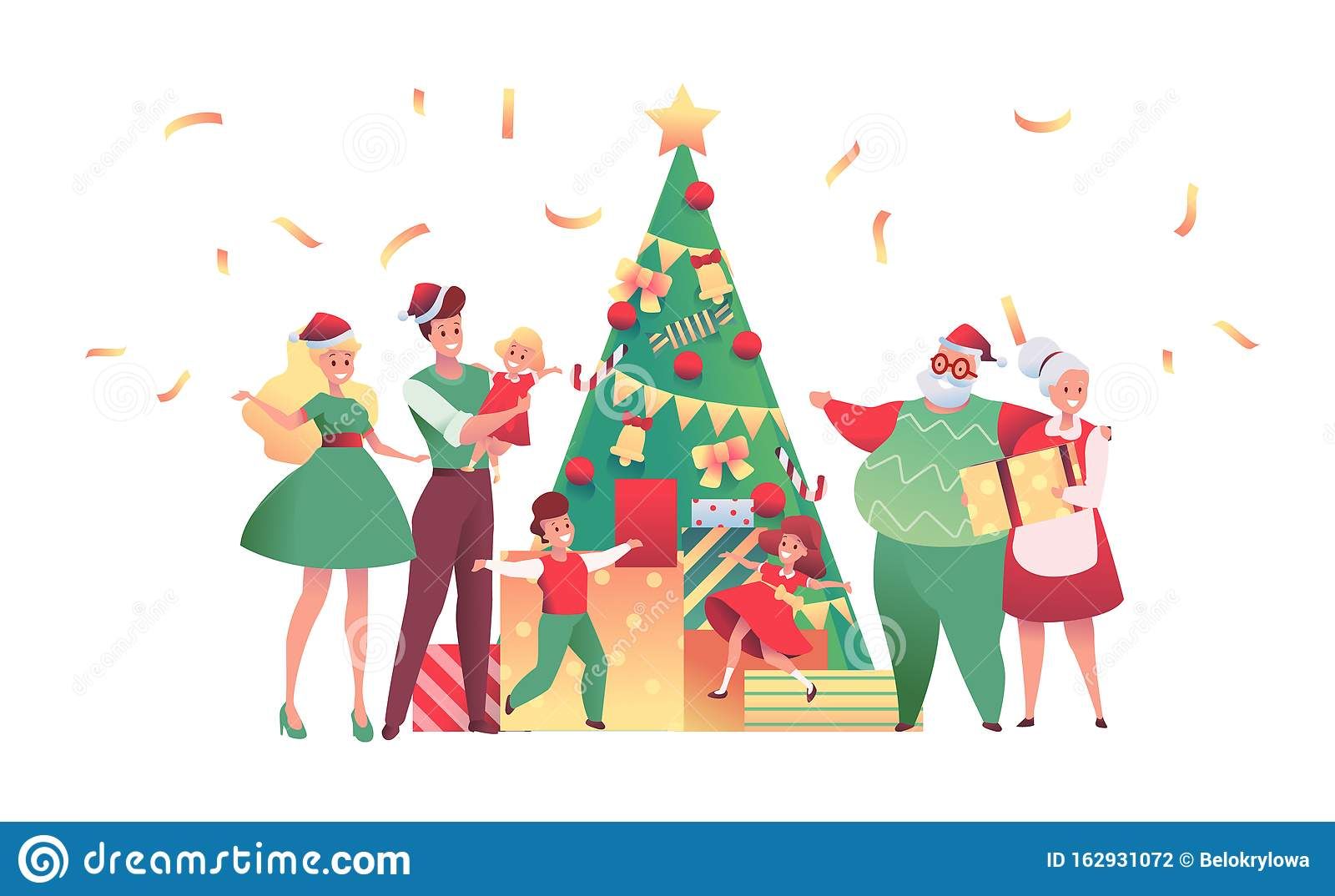 Vector Flat Family Near Christmas Tree Together Stock ...