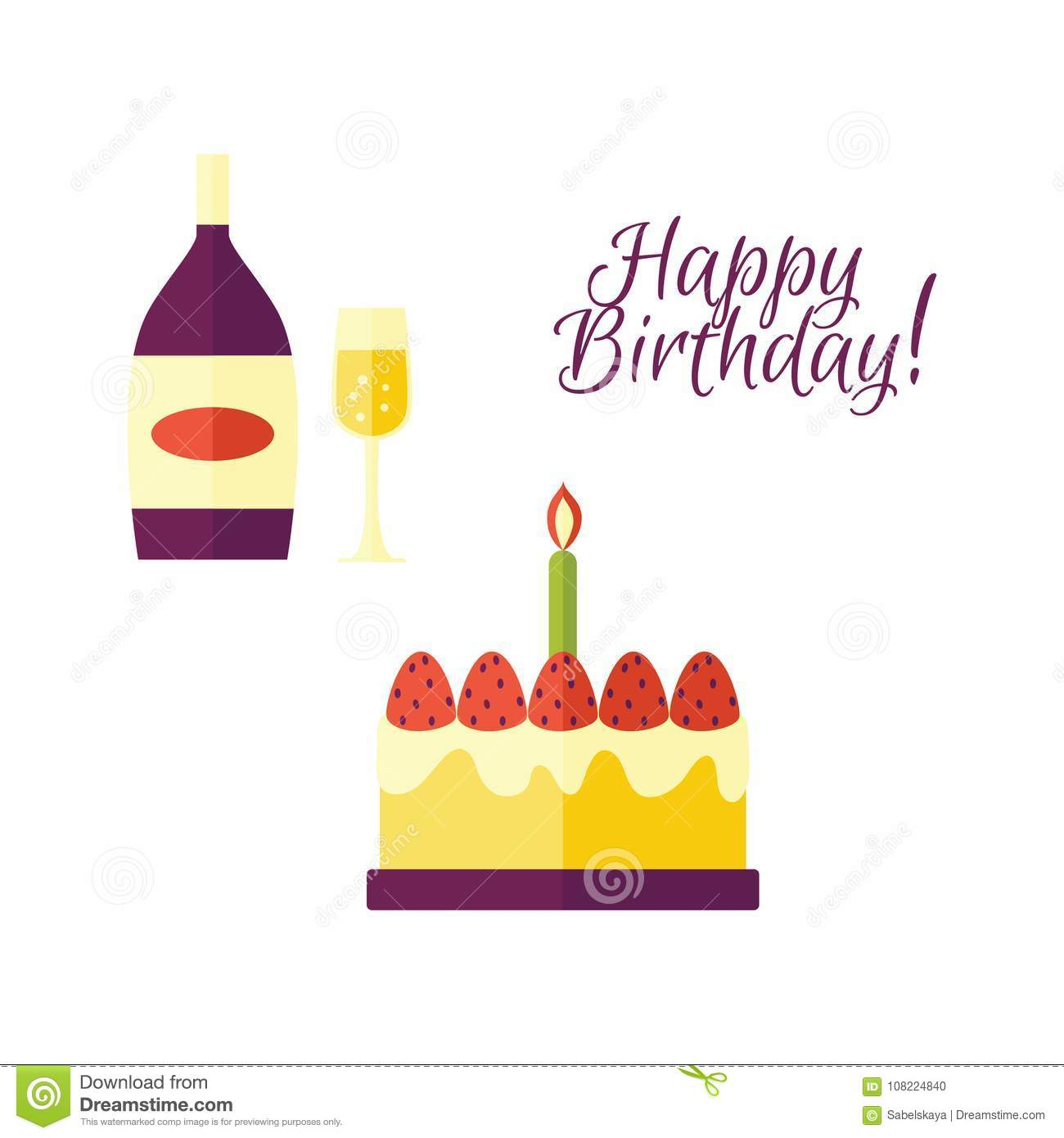 Vector Flat Glass Of Champagne Bottle Birthday Cake Icon With Happy Inscription Gold Label Mockup