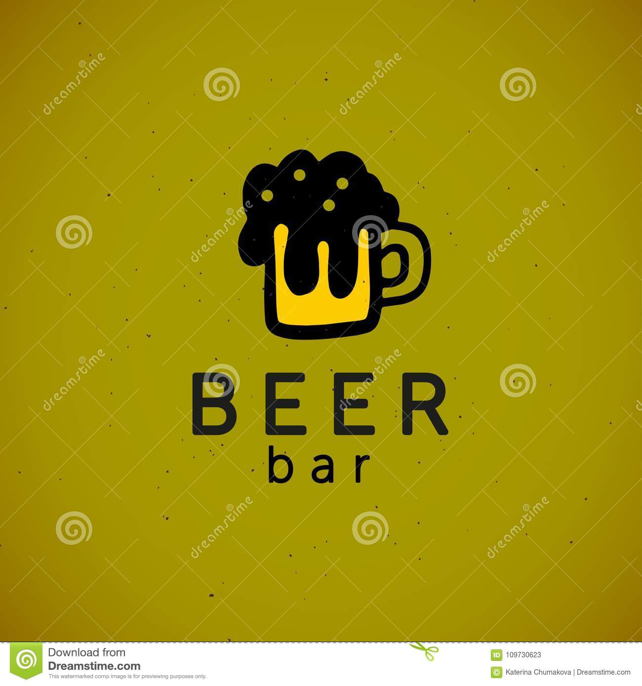Vector Flat Hand Drawn Alcohol Beer Sign Logo Template Isolated On