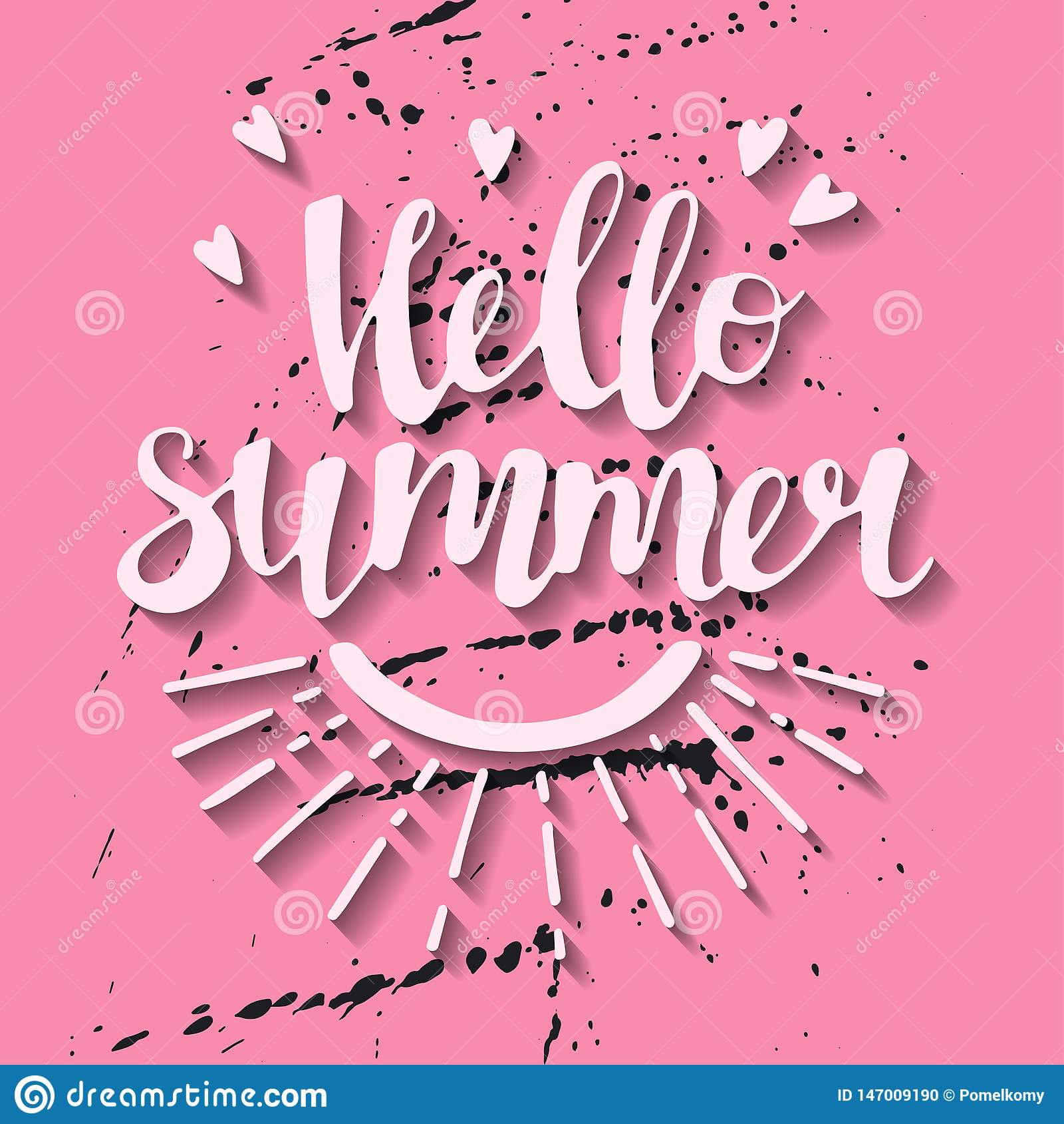 Vector flat hand drawn illustrations. Lettering: Hello Summer