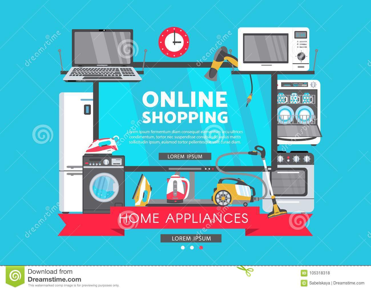 Vector Flat Home Appliance Sale Icon Stock Vector Illustration Of