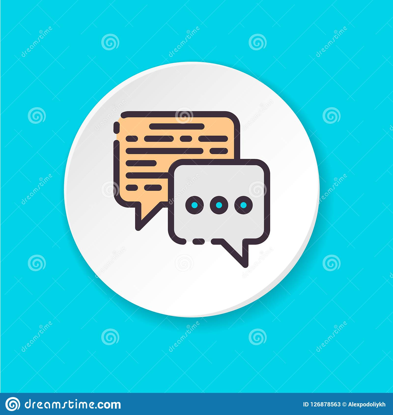 Vector flat icon business conversation. Button for web or mobile app.