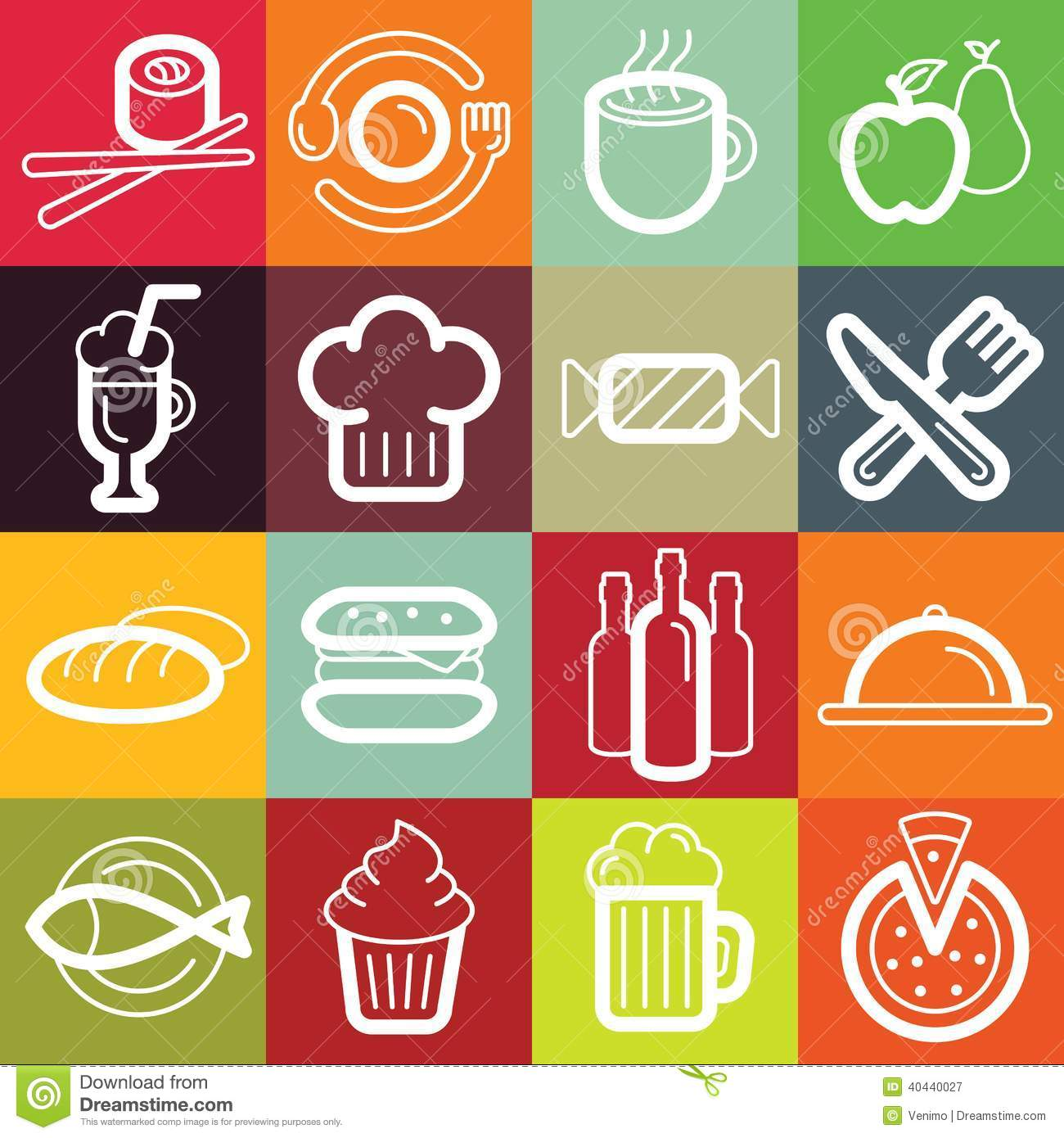 Vector Flat Icon Set Food And Cafe Stock Vector Image: 40440027 #BE570D 1300 1390