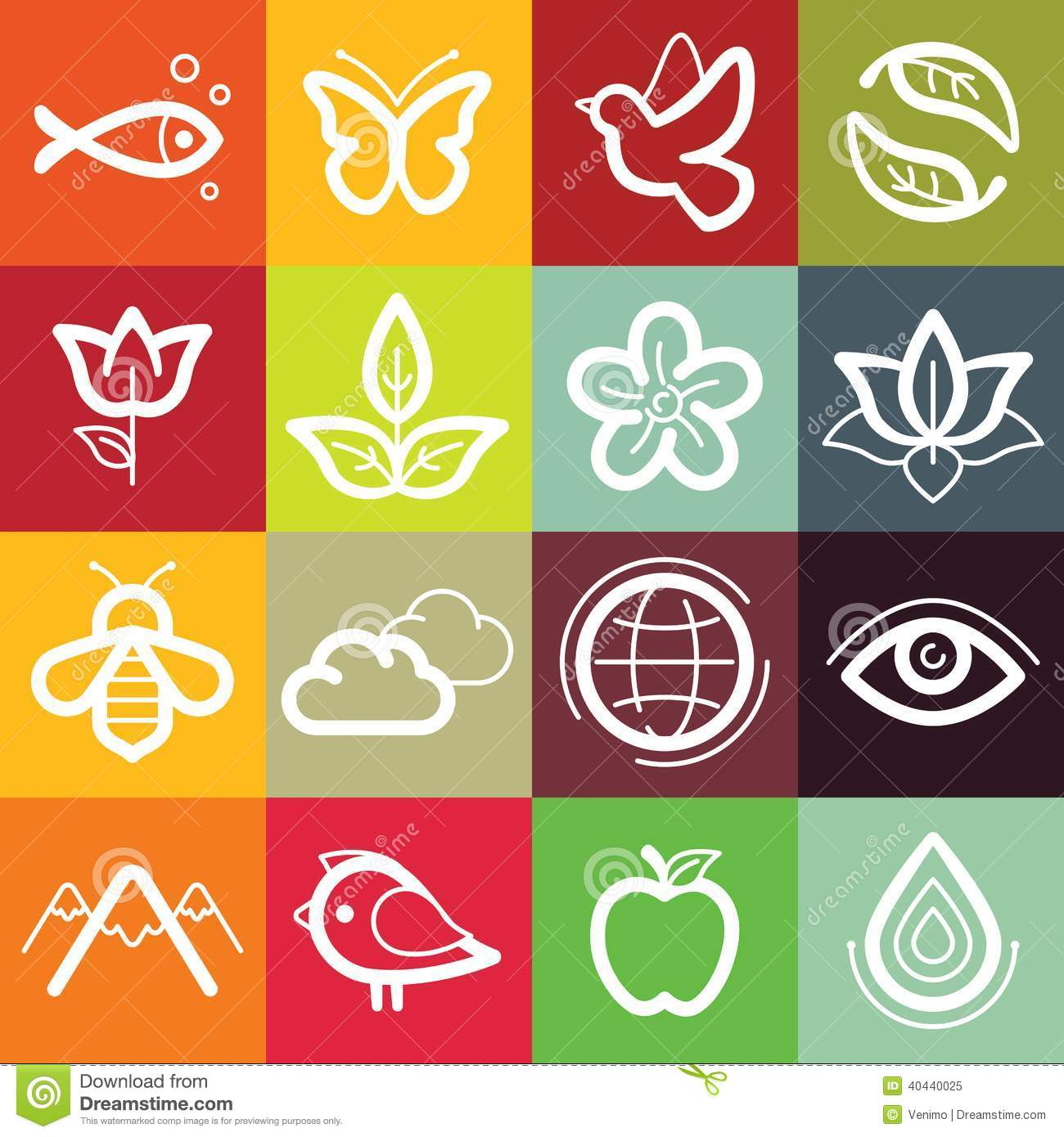 Vector Flat Icon Set Nature Flora And Fauna Stock