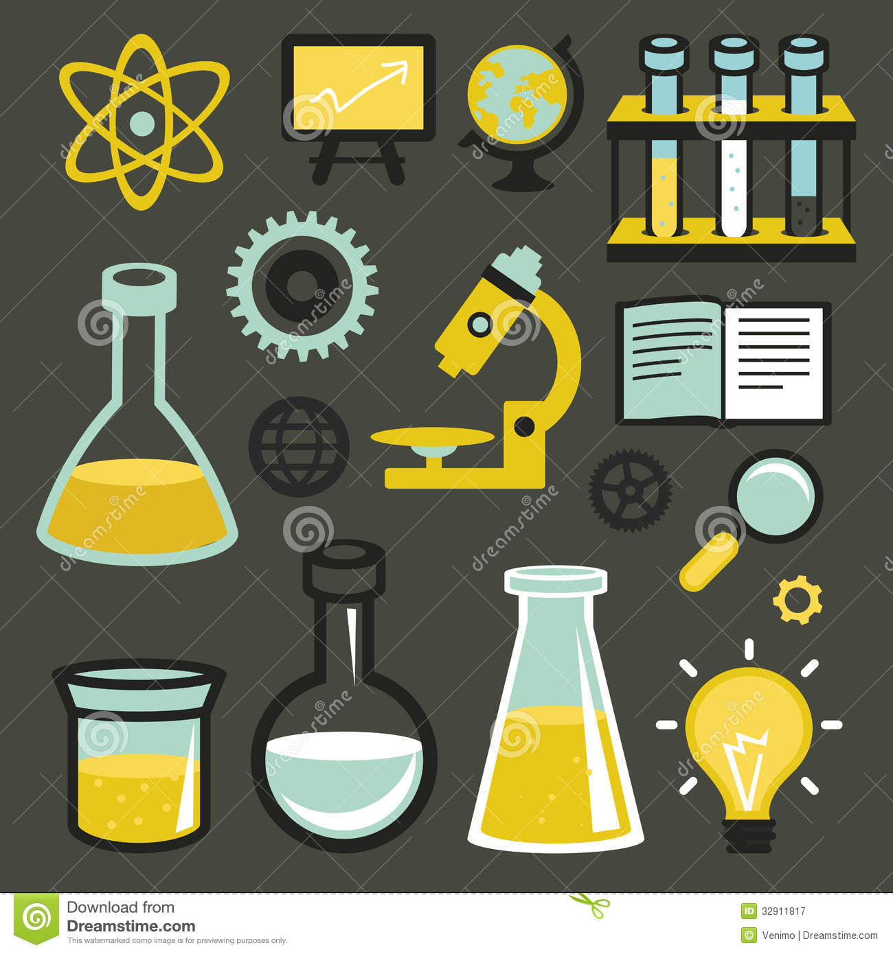 Vector Flat Icons Science And Education Royalty Free