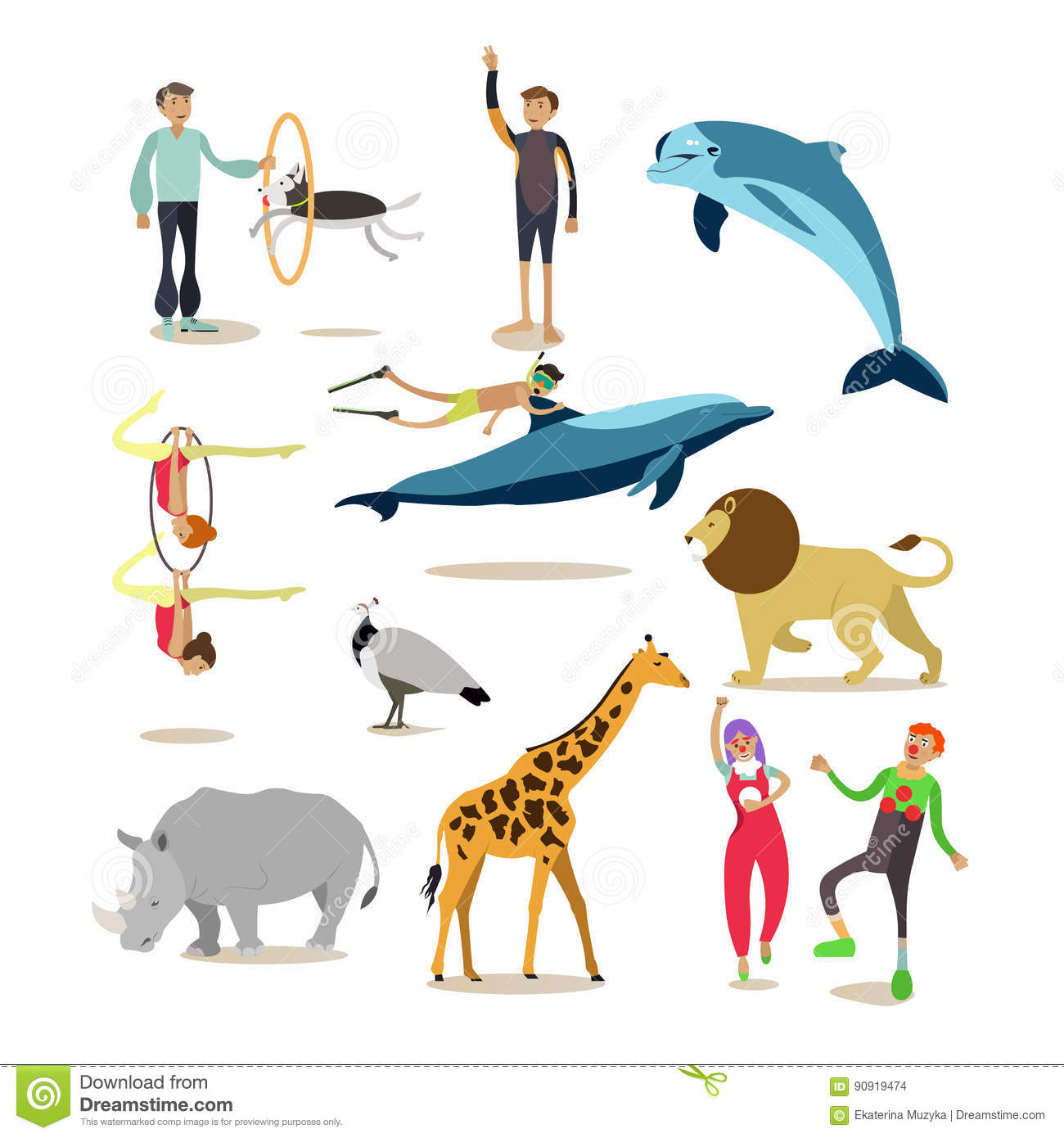 Vector Flat Icons Set Of Dolphinarium, Circus And Zoo Characters ...
