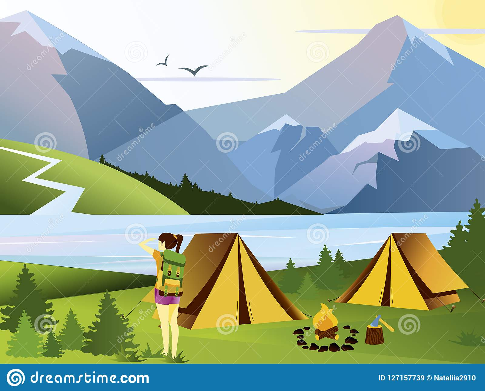 Vector flat illustration camping girl traveler. Nature background with grass, forest, mountains and hills. Outdoor