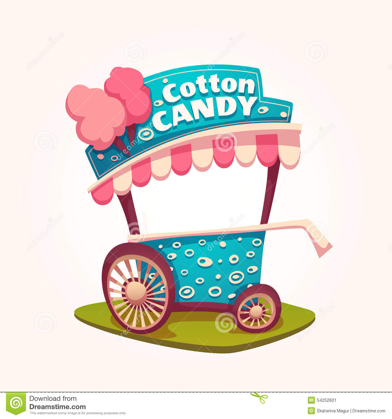 Vector Flat Illustration Of Cotton Candy Cart Stock Vector