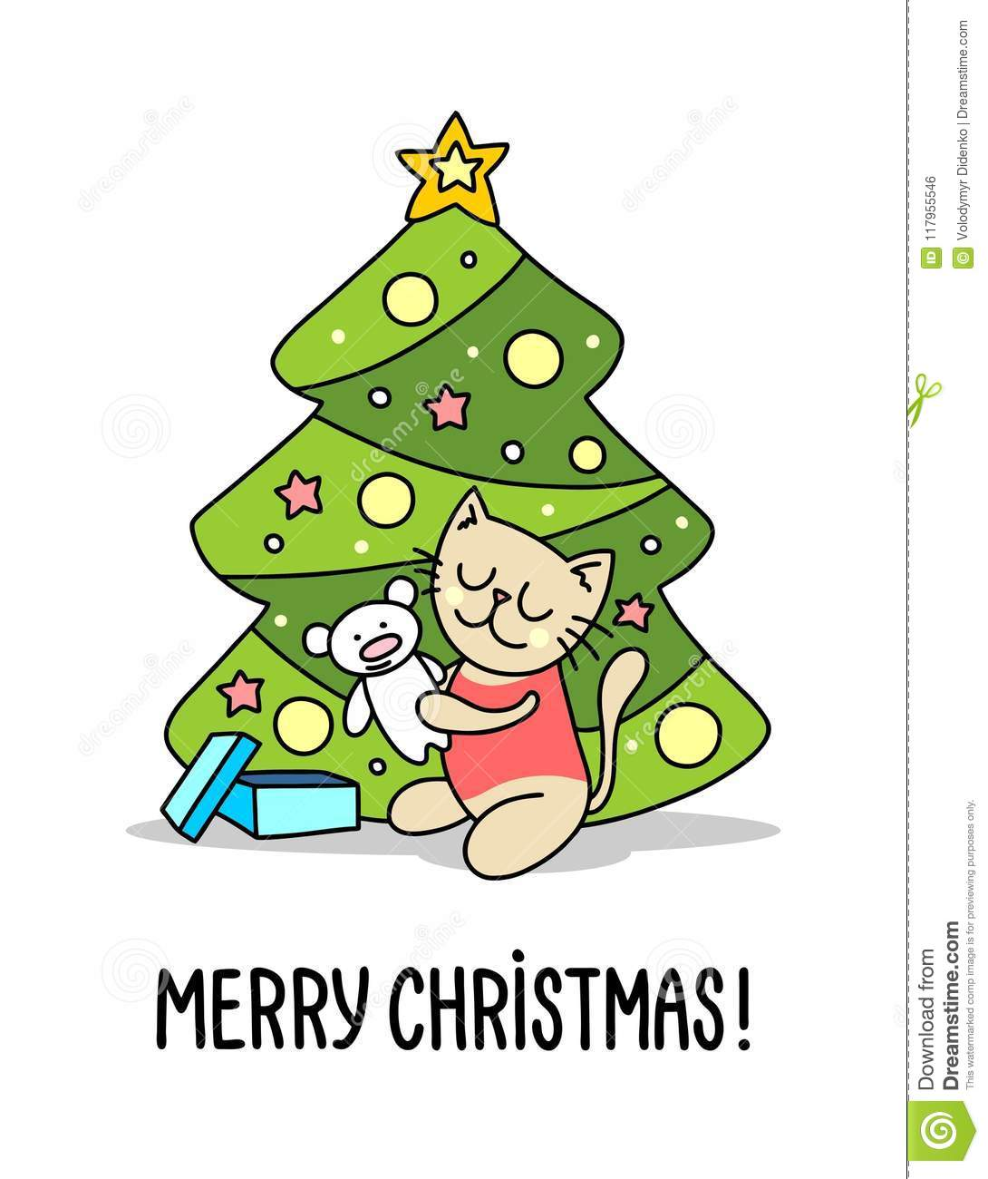 Baby Kitty Beside Christmas Tree With Xmas Gift. Merry Christmas And ...