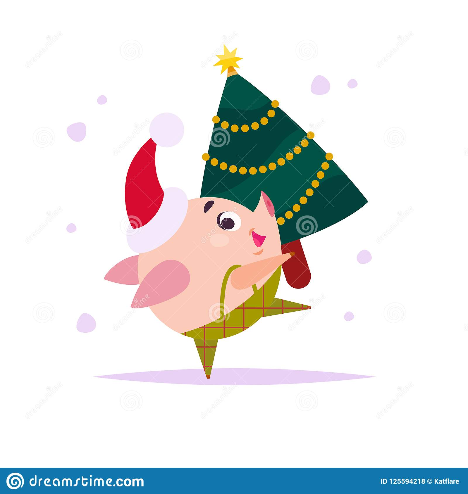 vector flat illustration of funny little pig elf in santa hat carrying decorated small new year