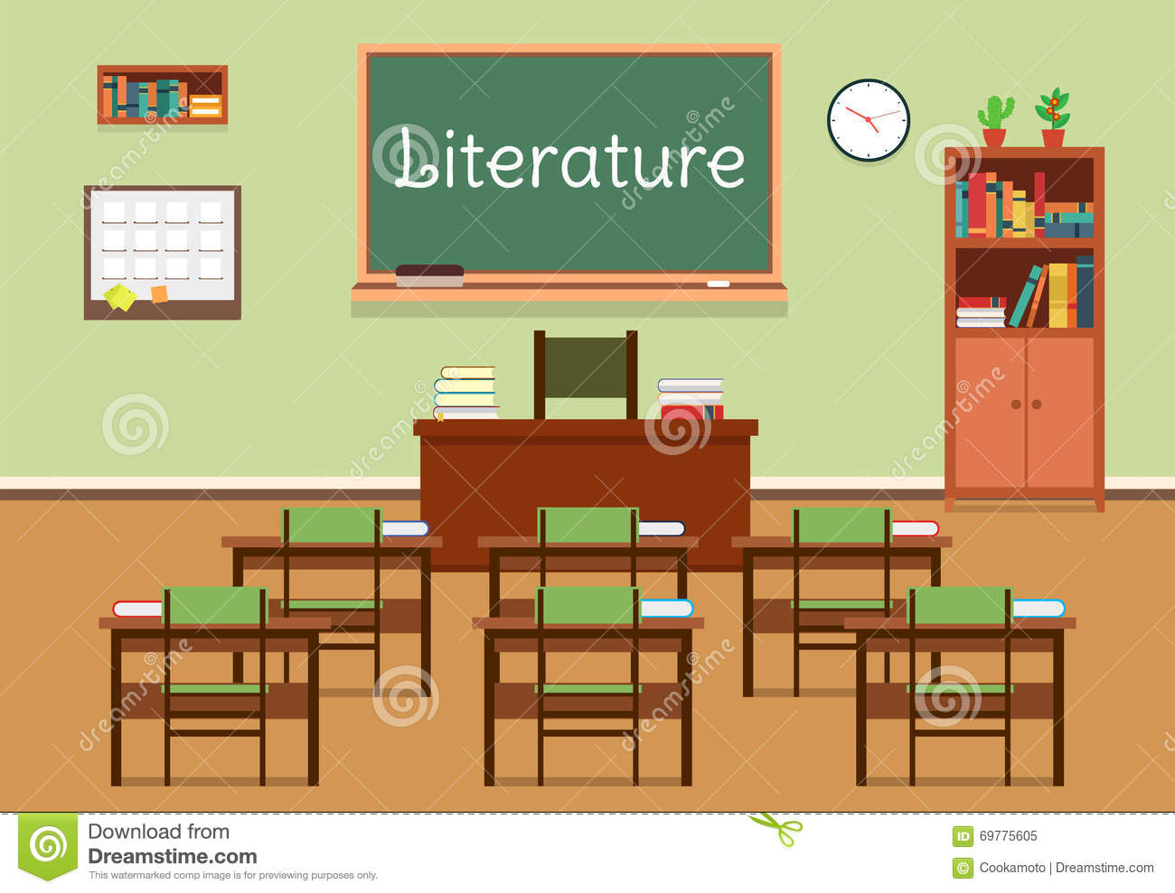 Classroom Design Literature Review ~ Vector flat illustration of literature classroom at the