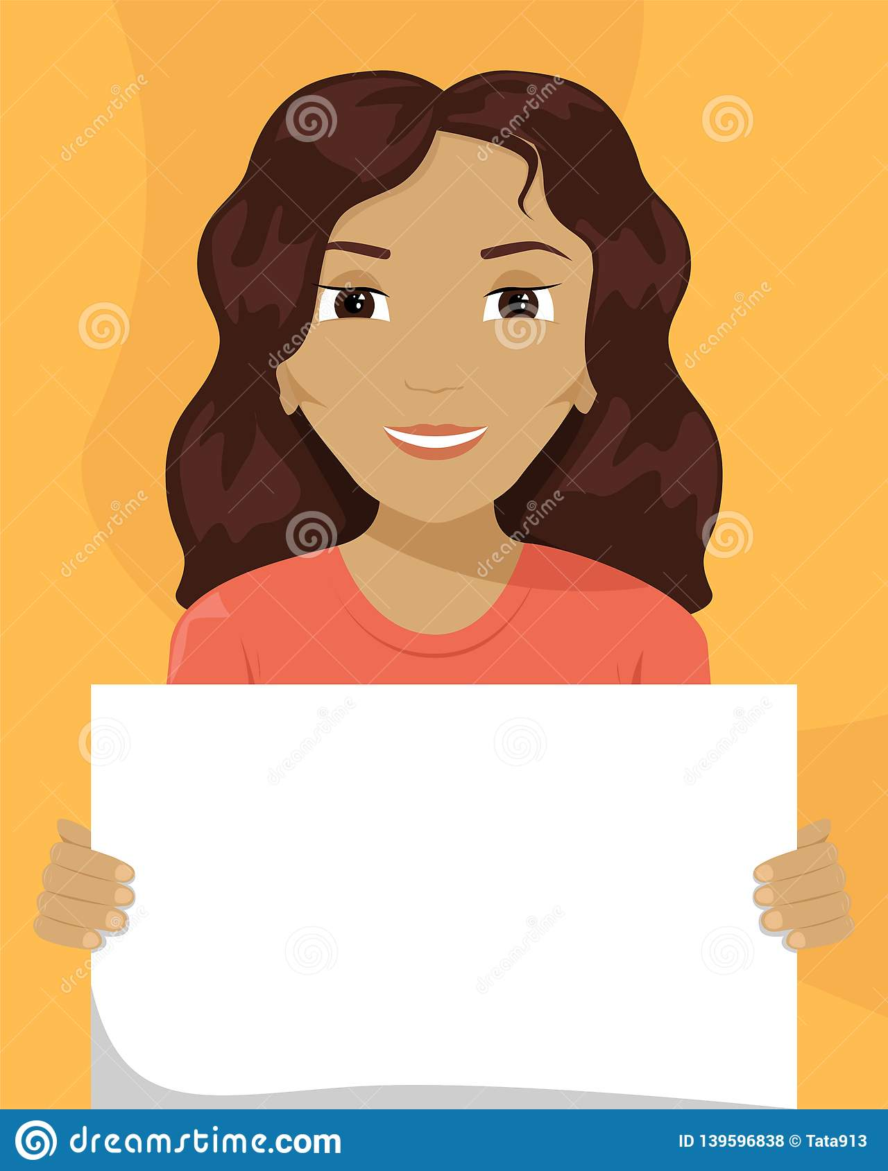 Vector flat illustration of a mixed-race woman with a placard in her hands. Racial diversity