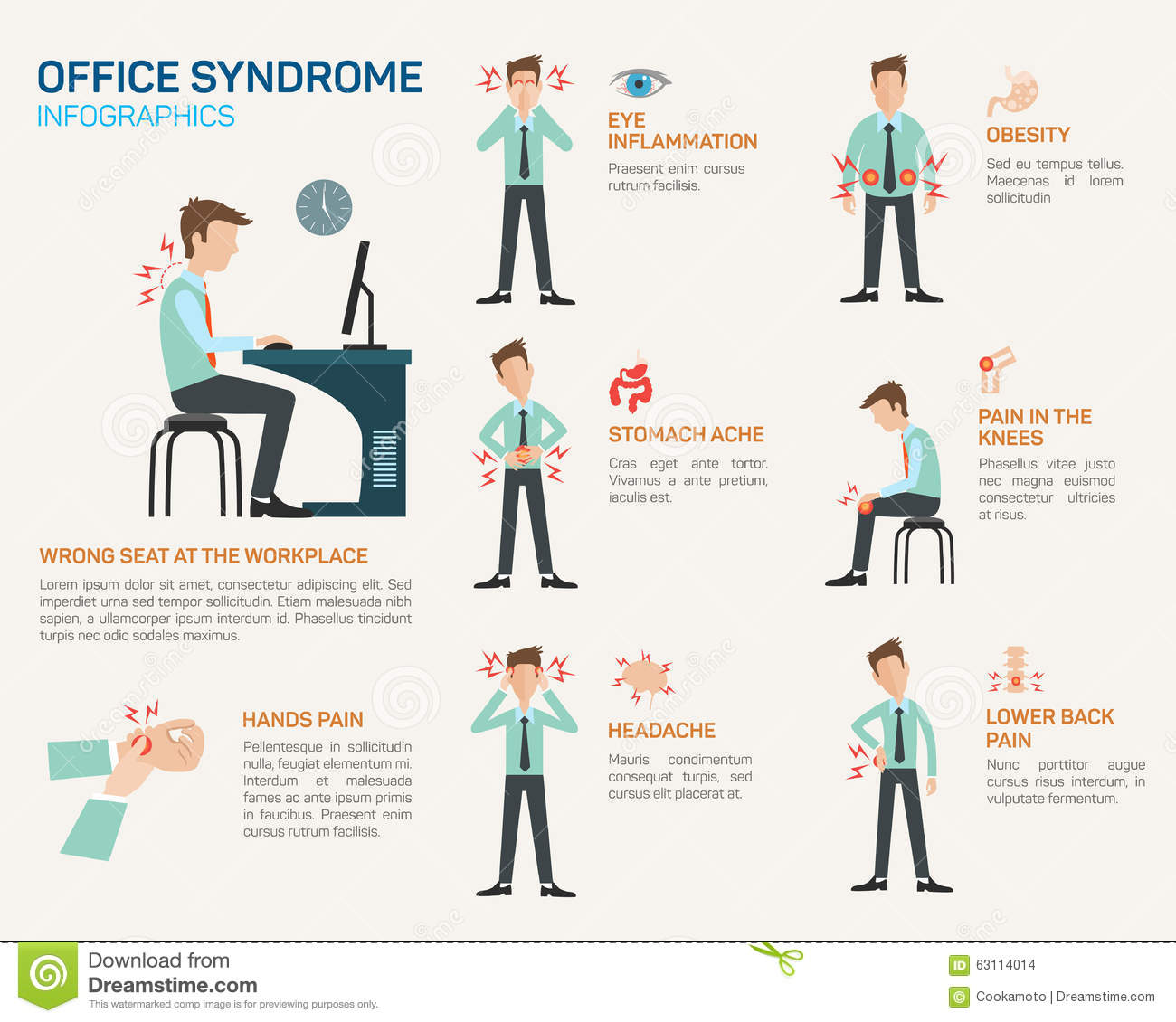 Vector Flat Illustration For Office Syndrome Stock Vector