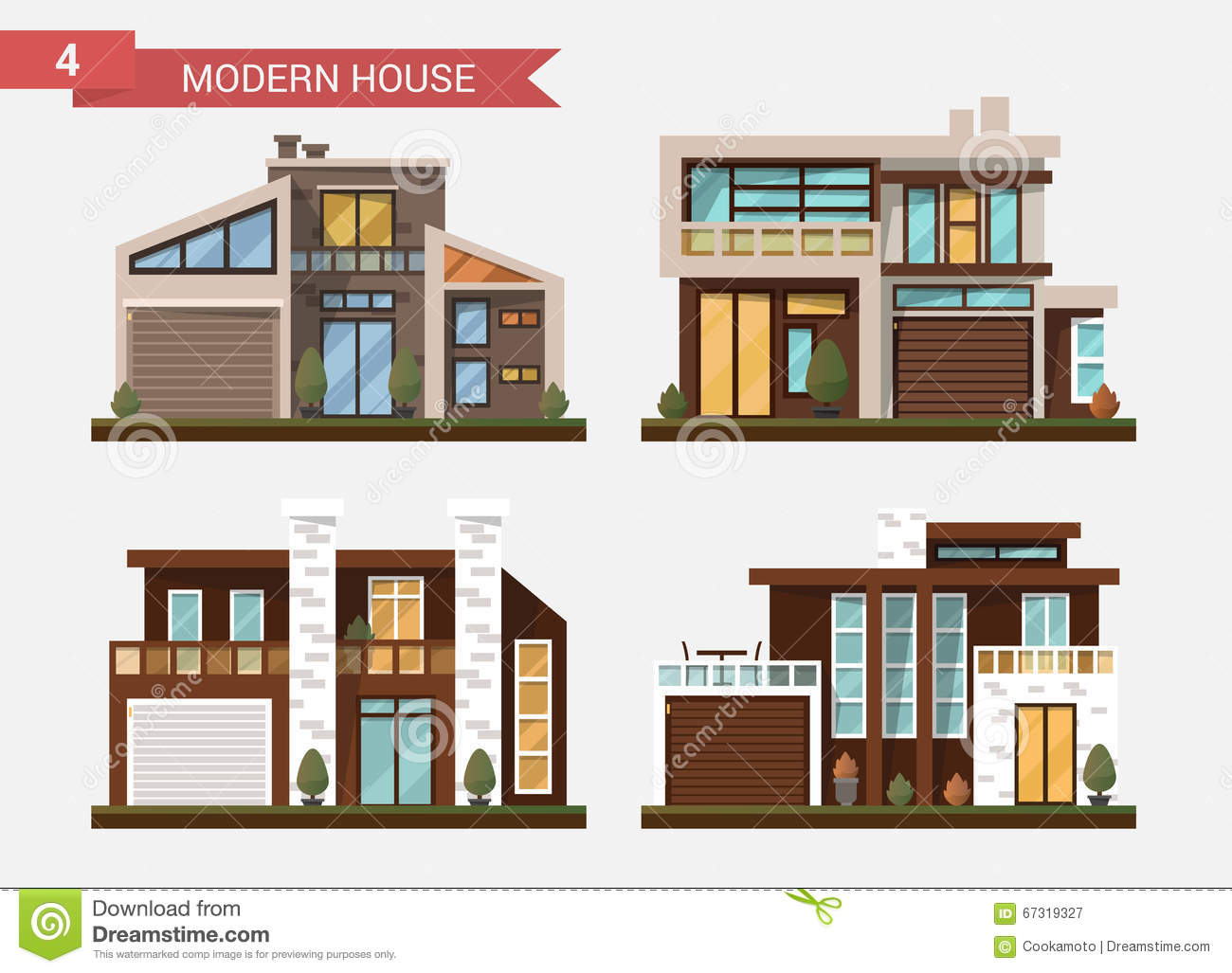 Vector Flat Illustration Traditional And Modern House. Family Home ...