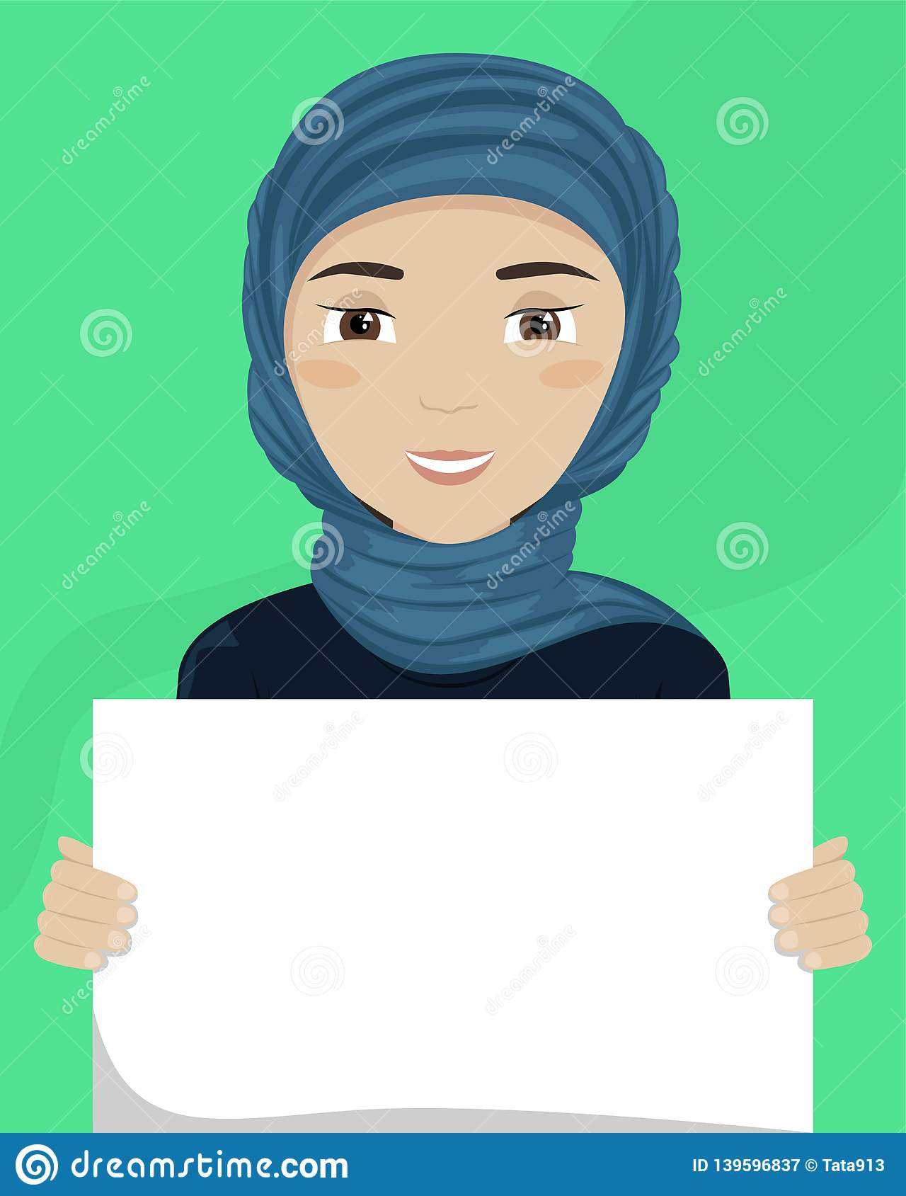 Vector flat illustration of a woman in hijab with a placard in her hands. Racial diversity