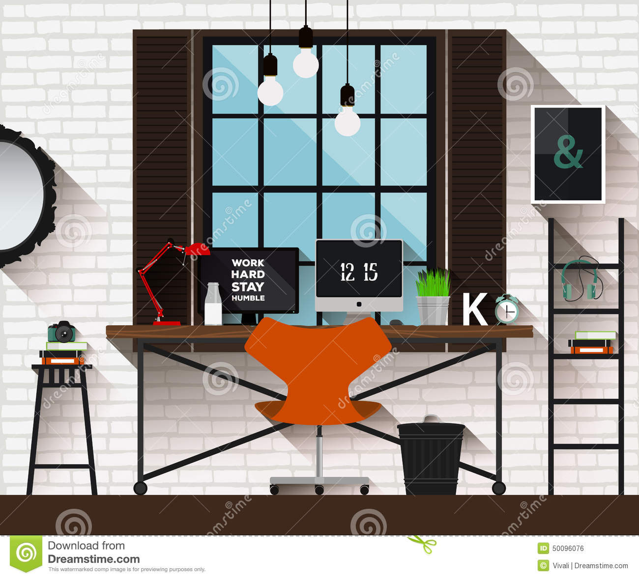 creative office designs 3. Beautiful Creative Vector Flat Illustration Workplace In Loft Interior Desk Concept Modern  Design Of Creative Office Workspace Icon Collection Intended Creative Office Designs 3