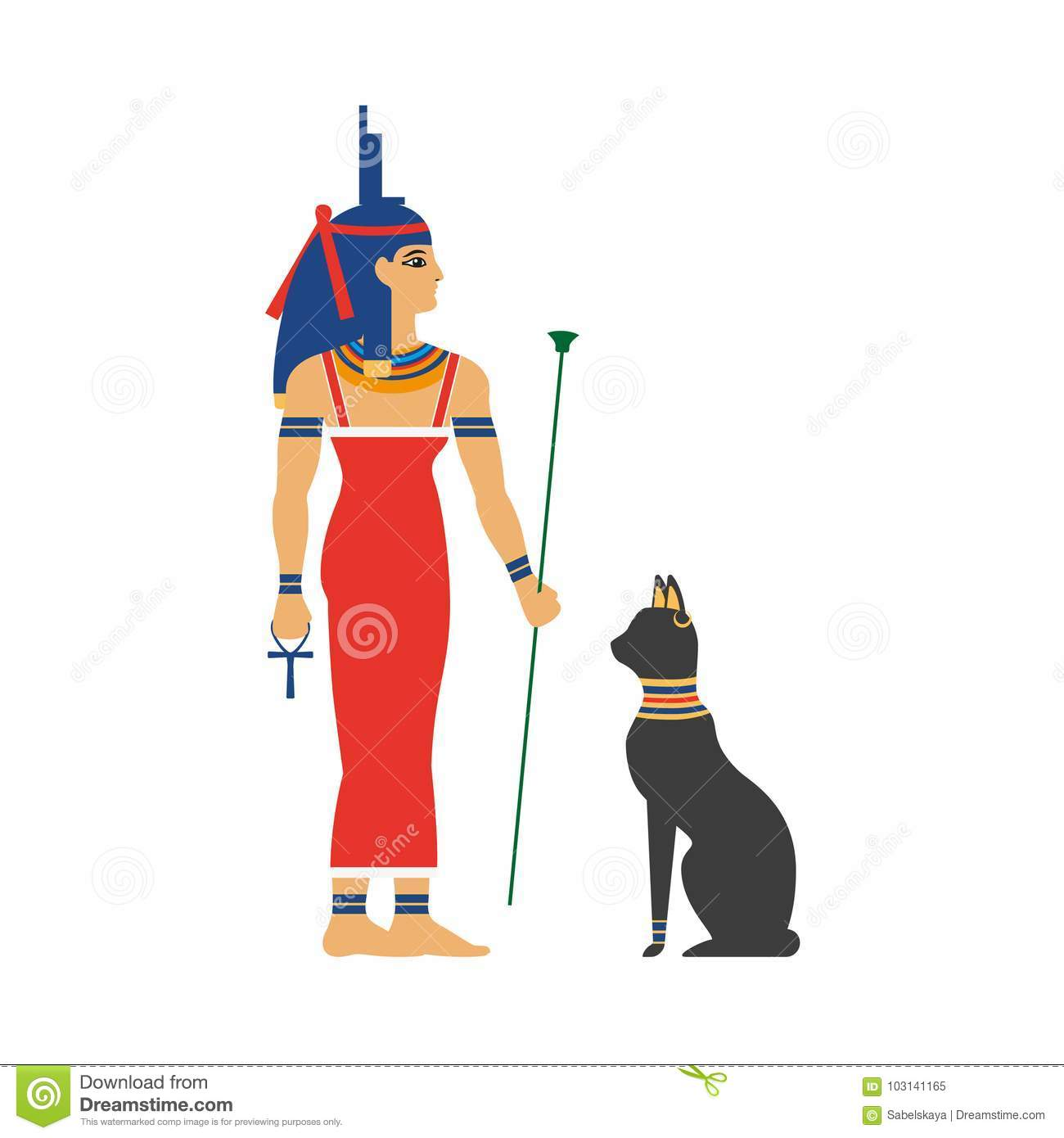 Vector Flat Isis Egypt Goddess And Black Cat Stock Vector ...