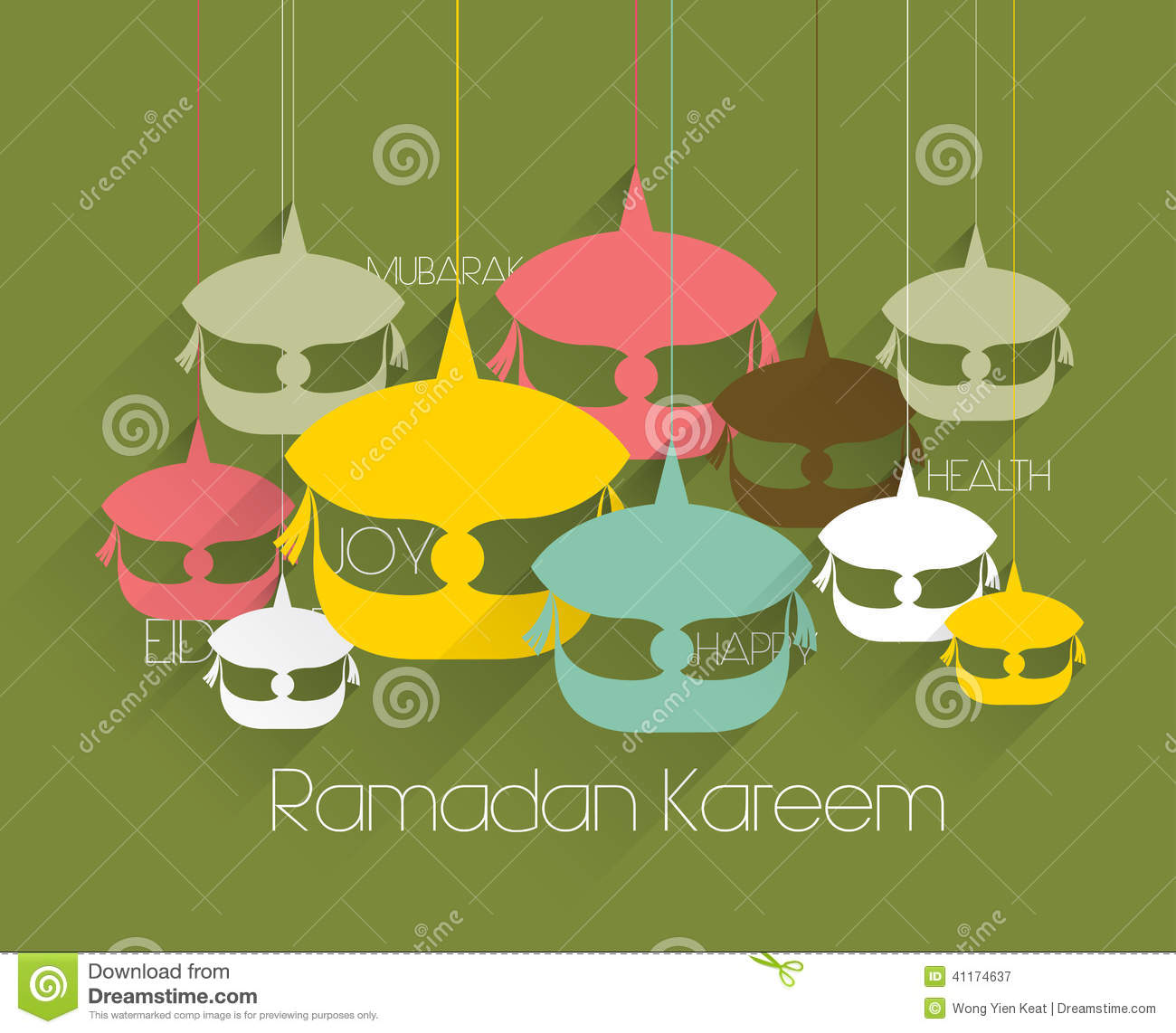 vector flat malay wau moon kite graphics stock