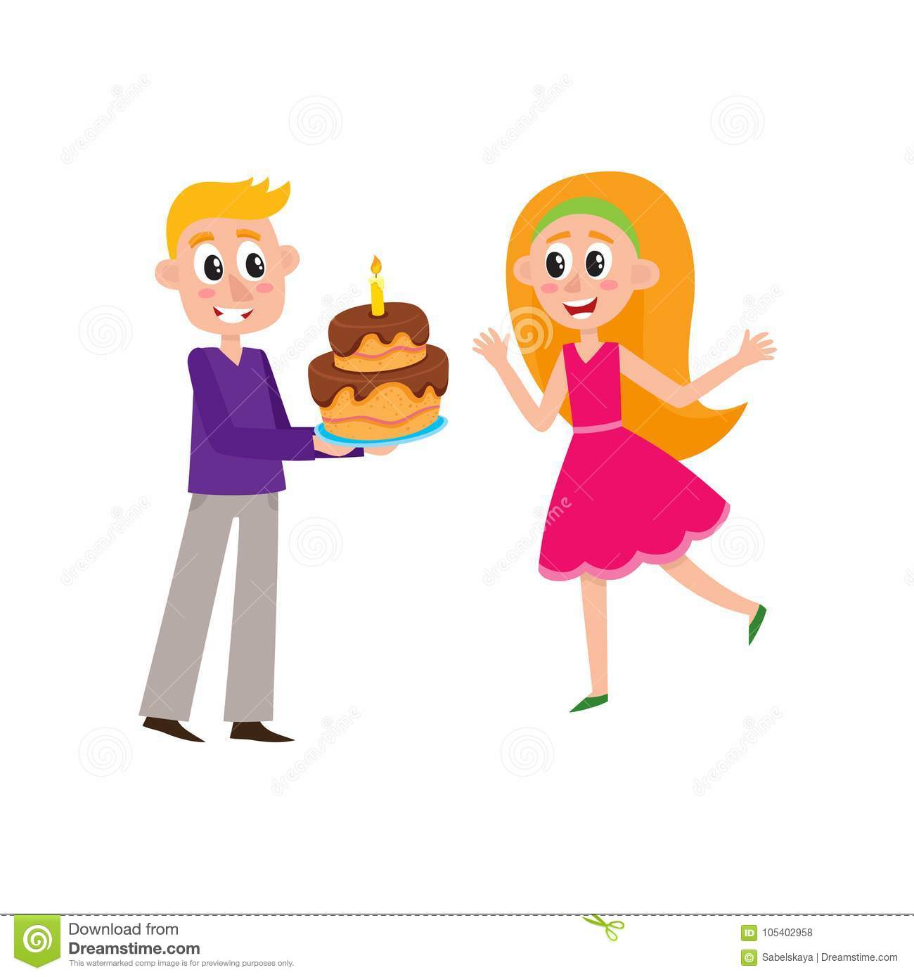 Vector Flat Man Giving Birthday Cake To Woman