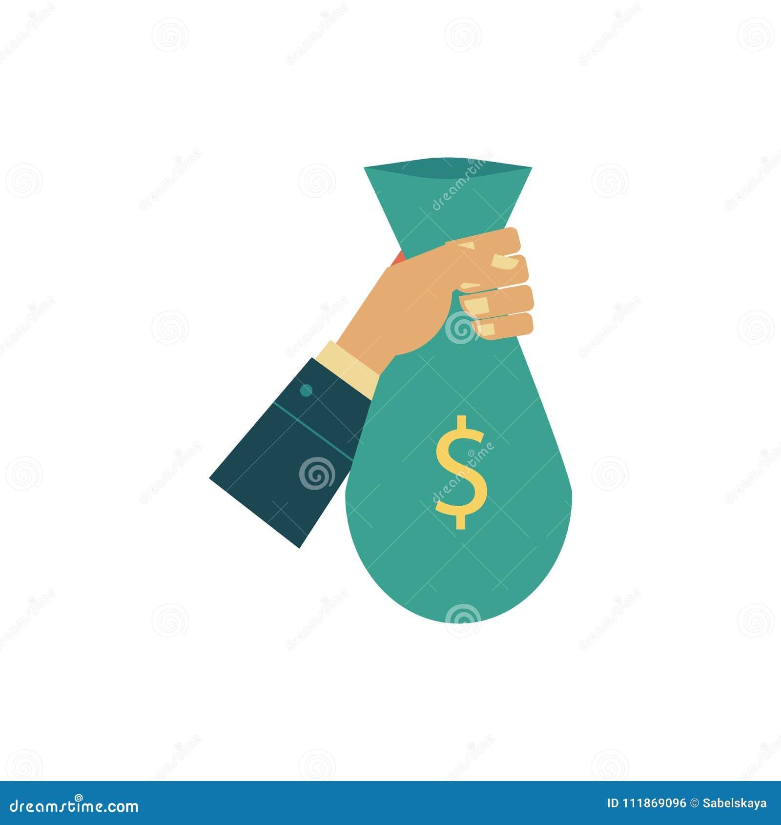 Vector Flat Man Hand Holding Money Bag Stock Vector