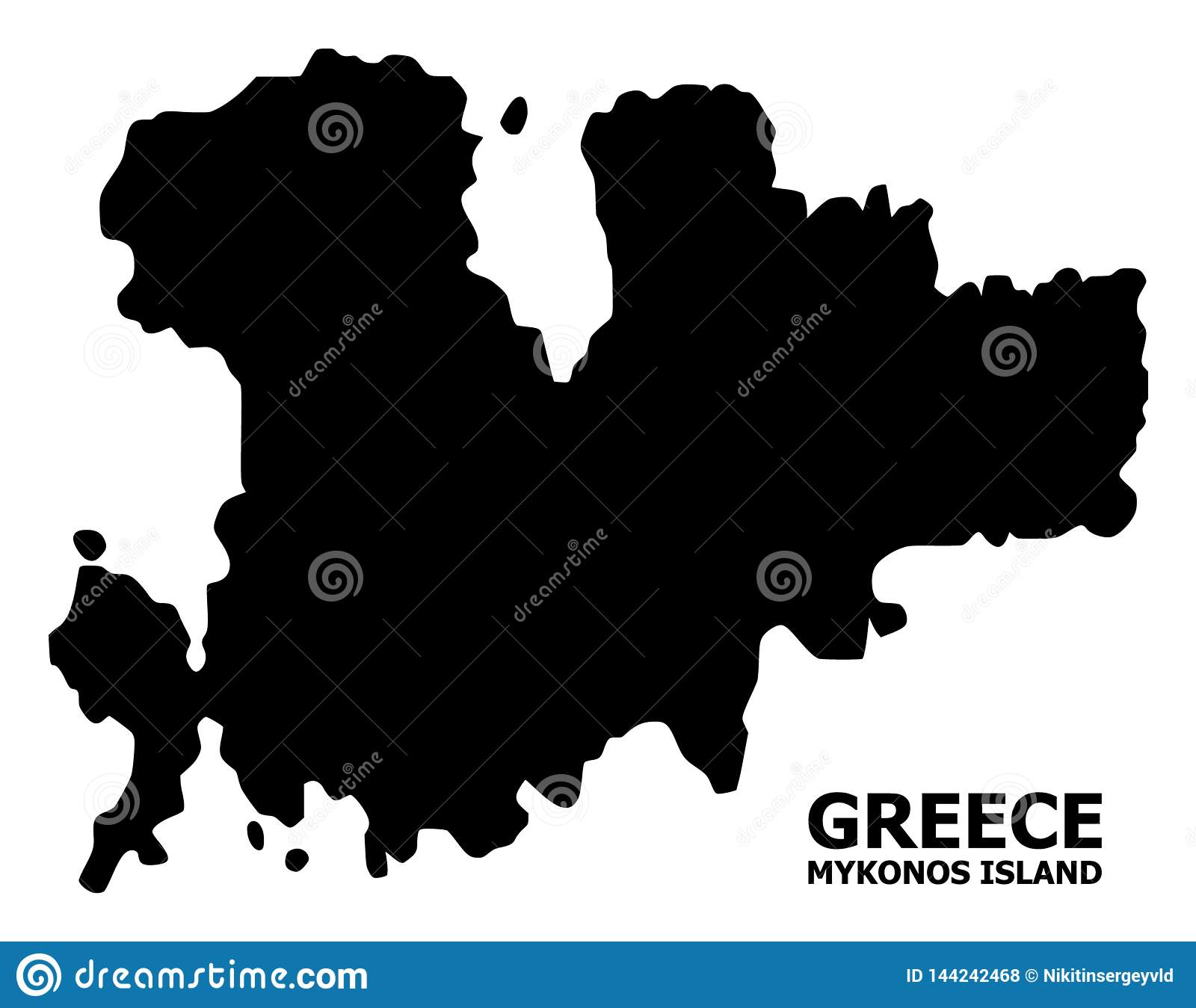 Vector Flat Map of Mykonos Island with Caption