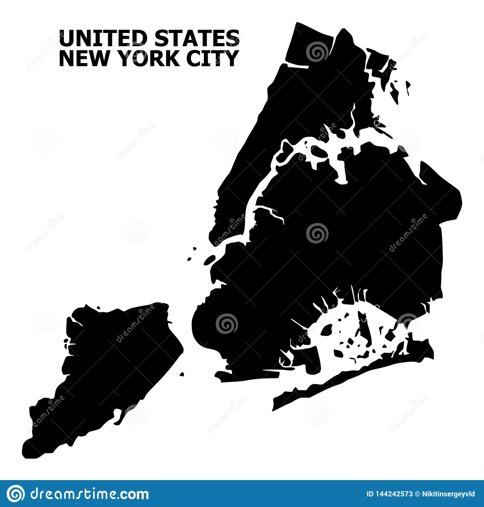 Simple Map Of New York City.Vector Flat Map Of New York City With Caption Stock Vector
