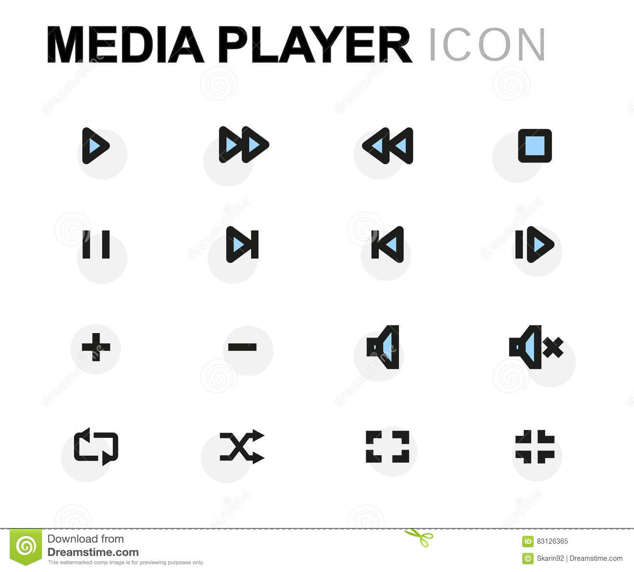Vector Flat Media Player Icons Set Stock Illustration