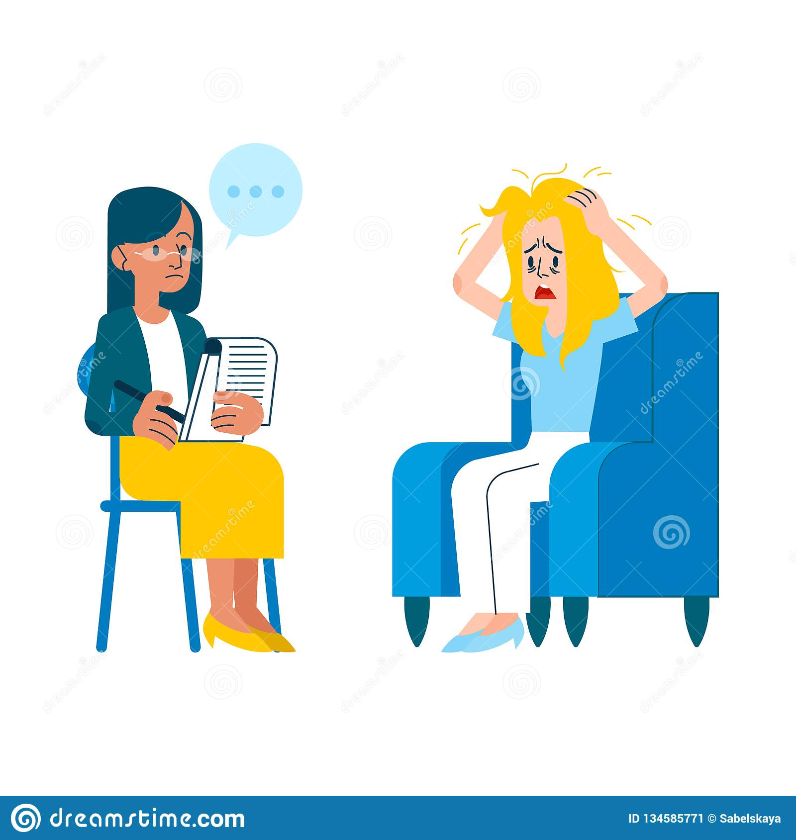 Vector flat mental therapy session crying woman