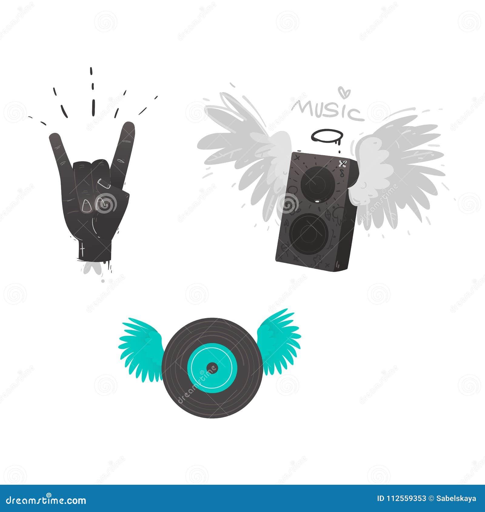 Vector Flat Music Symbol Vinyl Guitar Loudspeaker Stock Vector