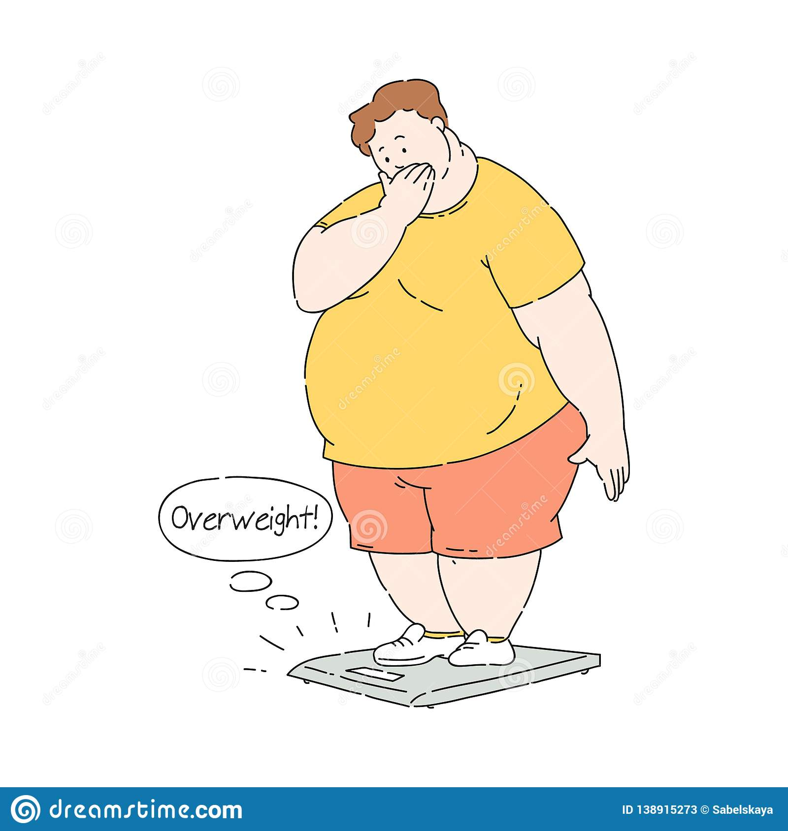 Vector flat overweight obese unhappy man at scale