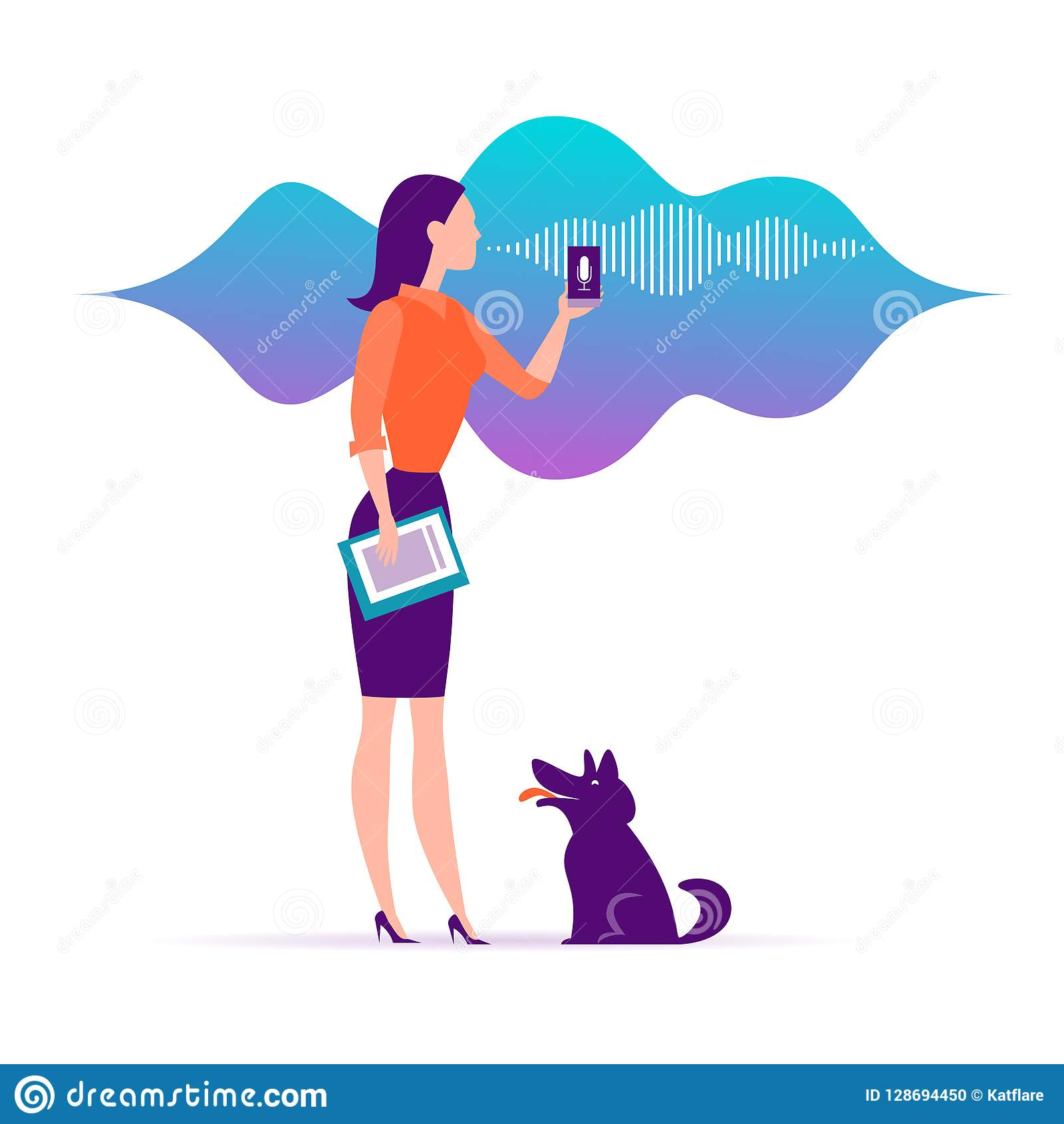 Vector flat personal online assistant illustration. Office girl with smartphone microphone dynamic icon, sound waves.