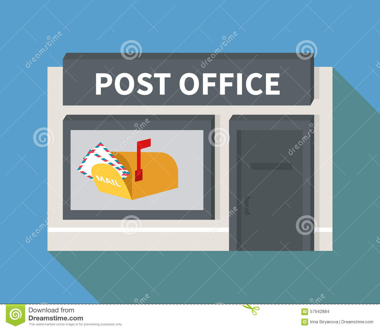 Vector Flat Post Office And Mail Box Stock Vector