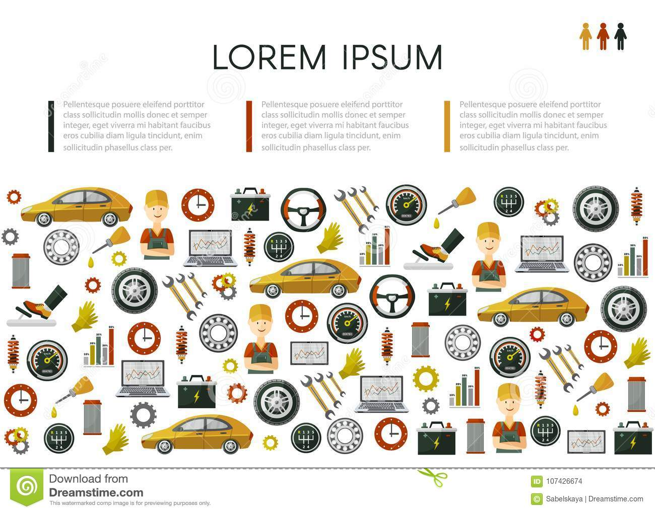 Vector Flat Car Service Icons Pattern Poster Stock Vector