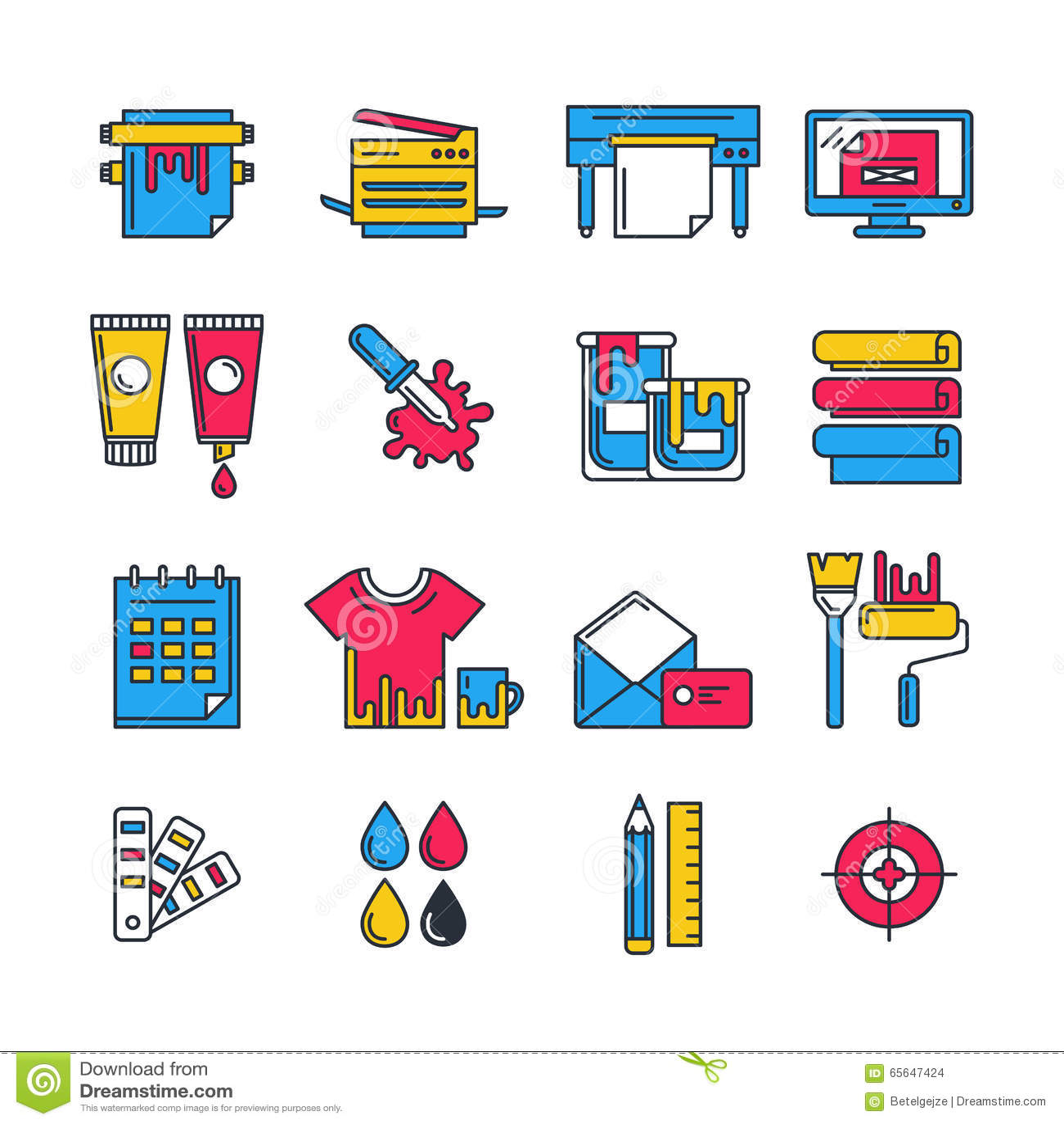 Printing Machine Vector Icon Set Stock Photography