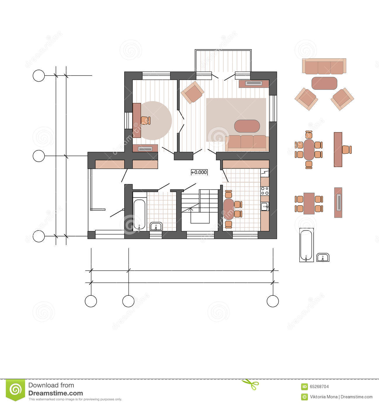 Vector flat projection with furniture. Set of furniture