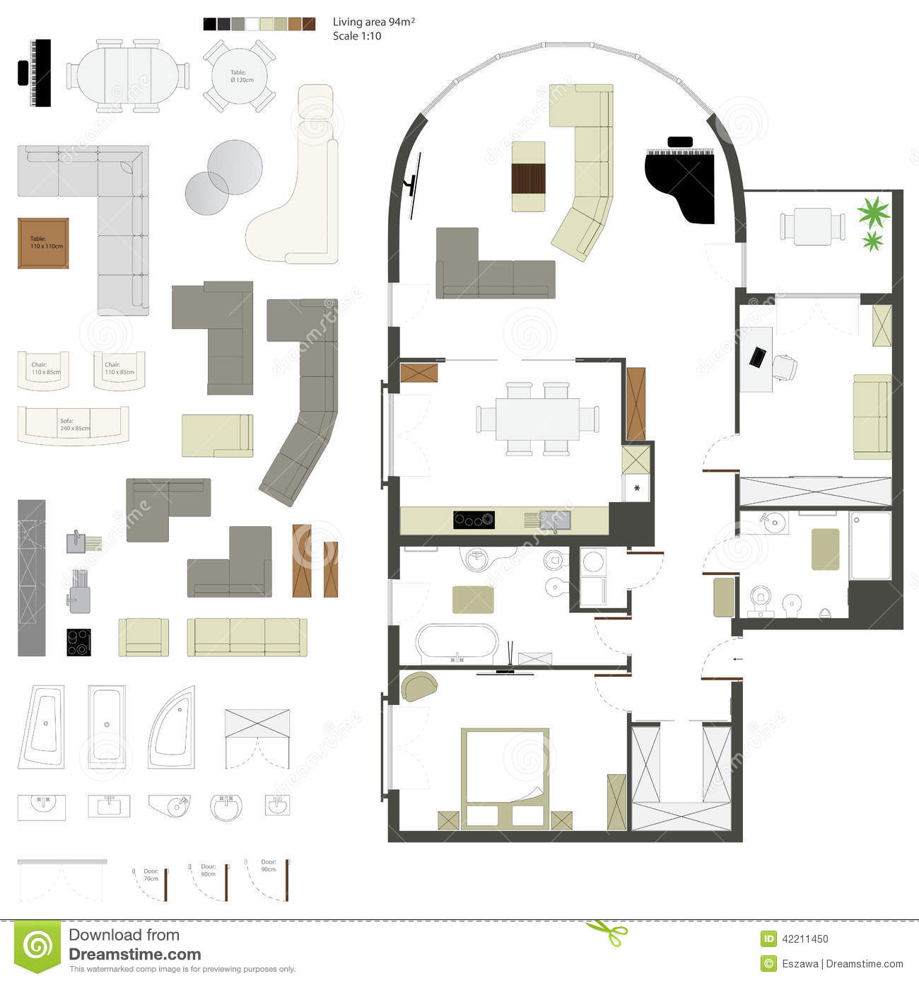 Drafting Floor Plans Vector Flat Projection With Furniture Set Scale Stock