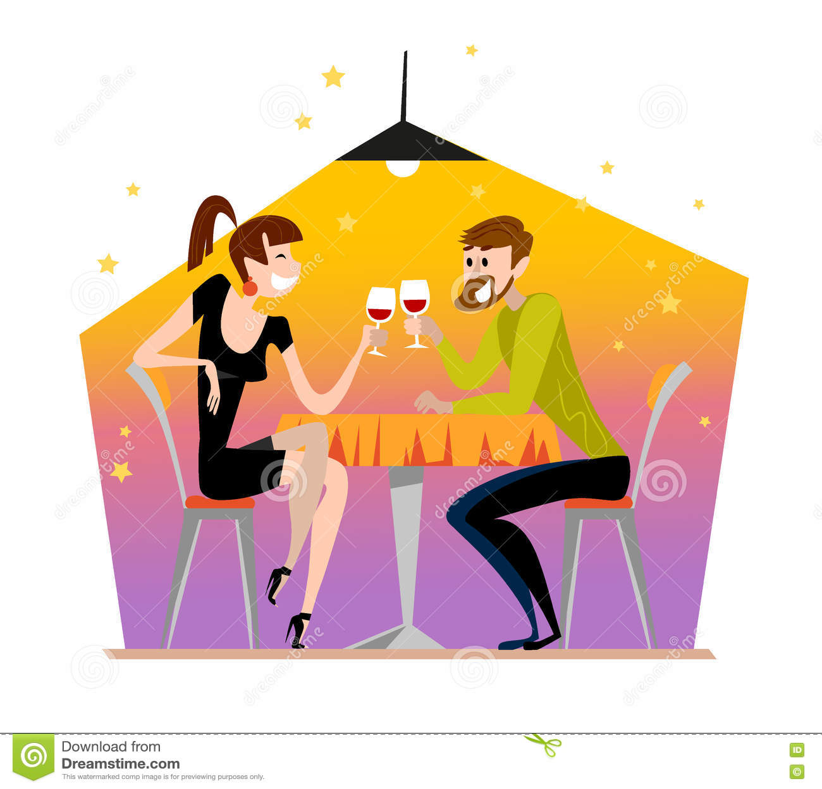 Cartoon restaurant free vector graphic download - Vector Flat Restaurant Illustration Stock Vector