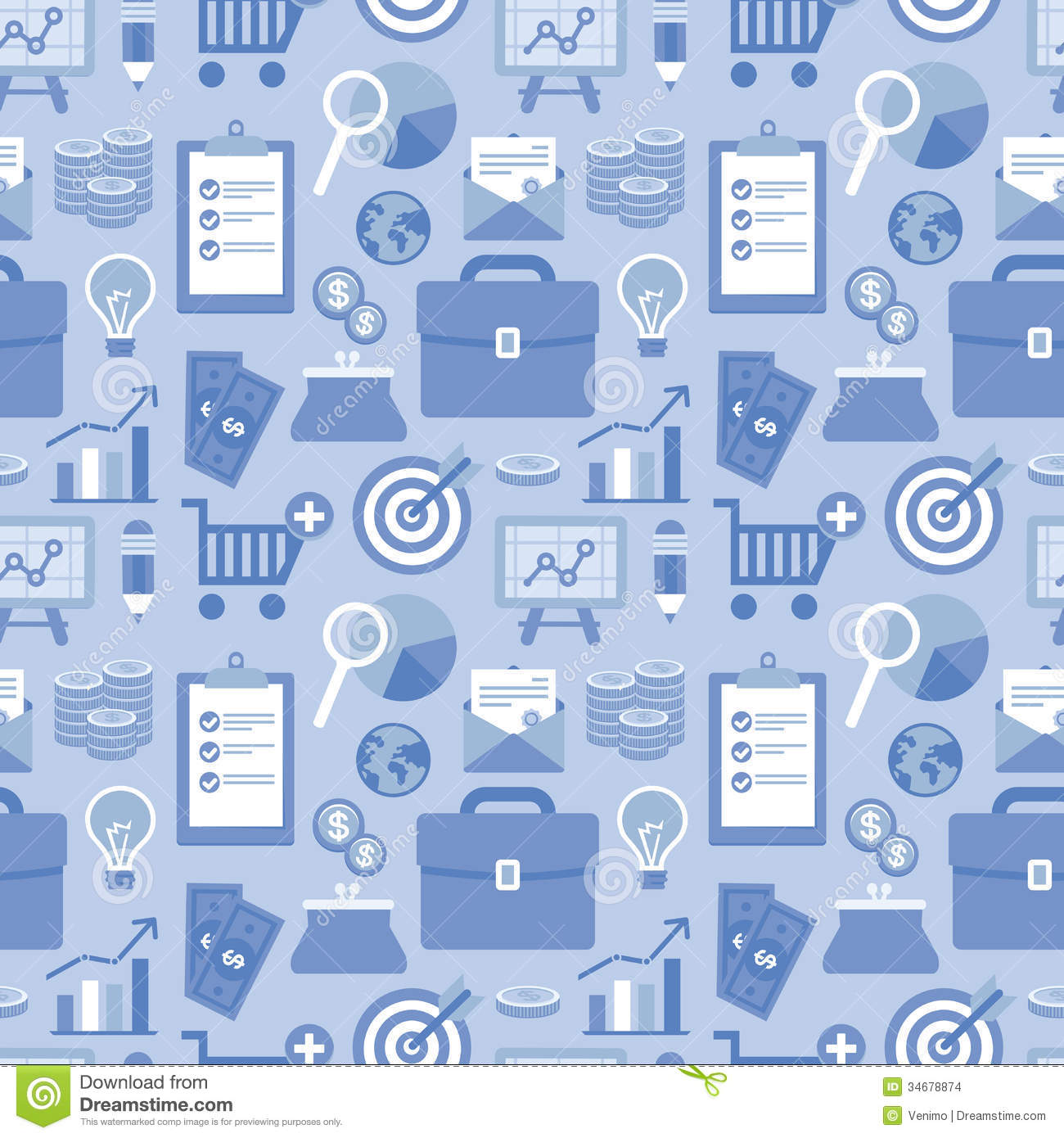 Vector Flat Seamless Pattern Business Icons Style Finance Signs Blue Color Website Background Group Images Over