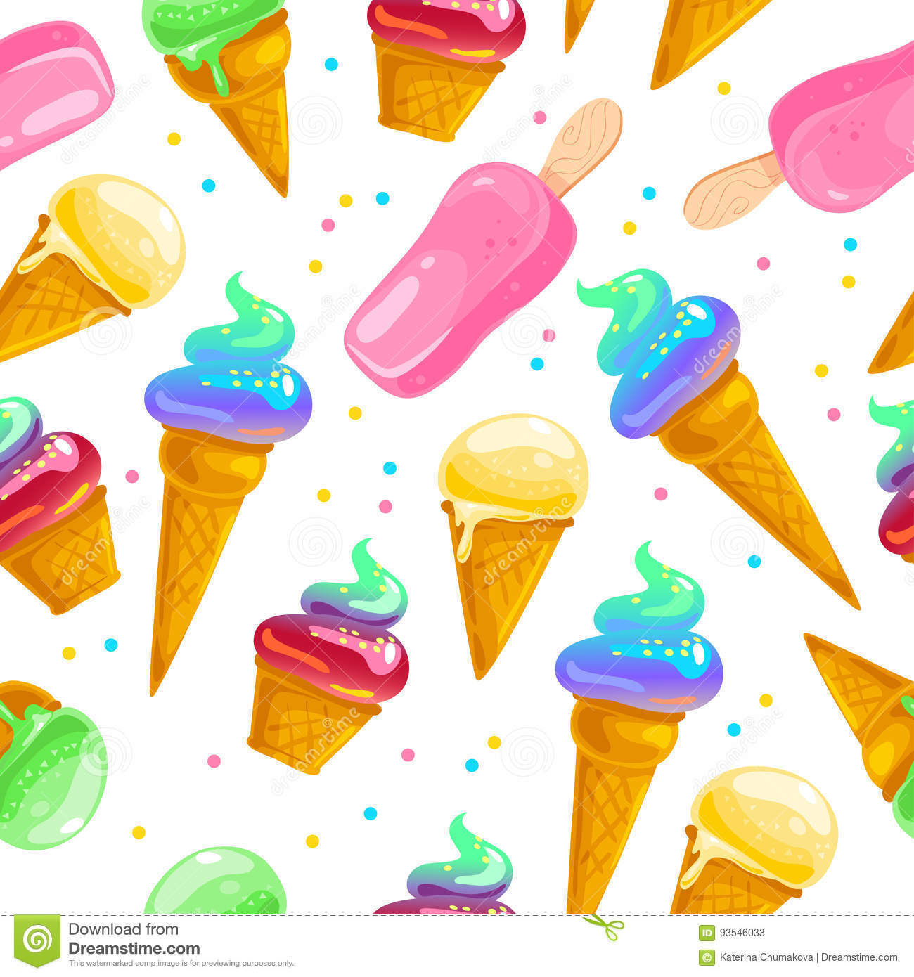 Vector Flat Seamless Pattern With Sweet Ice Cream Cones Eskimo And