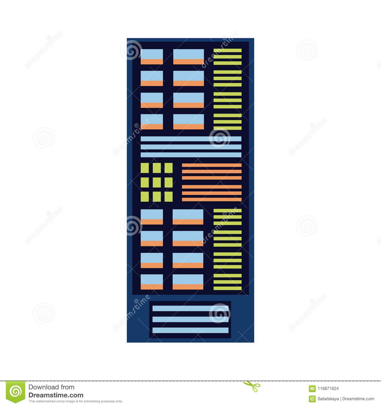 vector flat server rack at data center stock vector - illustration