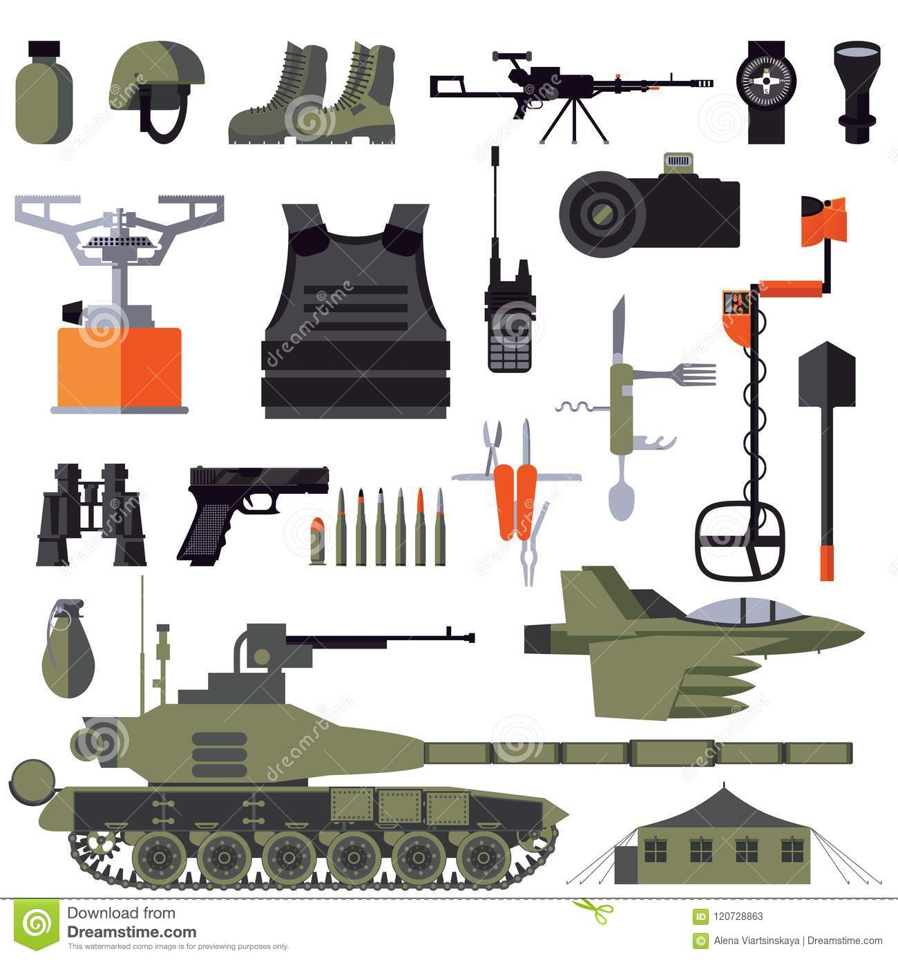 Vector Flat Set With Army Goods And Accessories Isolated On White Weapon And Armour Clothes And Vehicles For Soldier Stock Illustration Illustration Of Isolated Combat 120728863