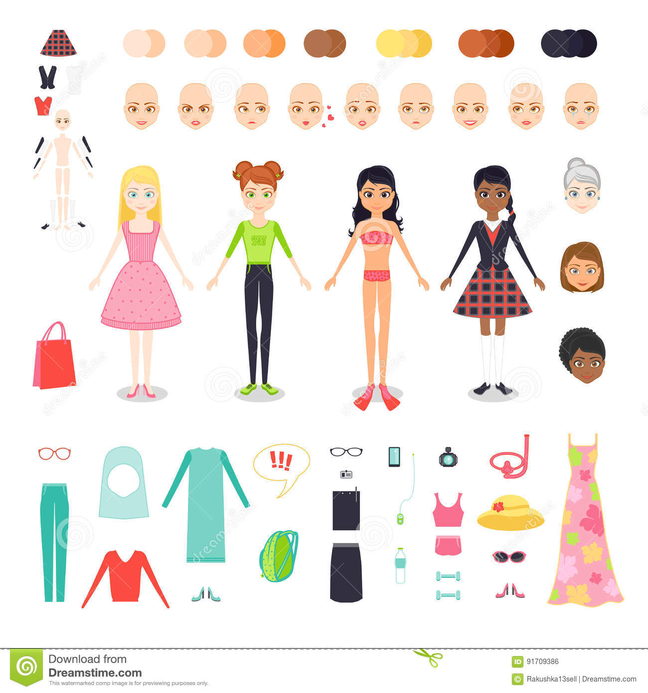 Vector flat set illustration of figure pretty girl. Character constructor of woman with different skin color, hair and