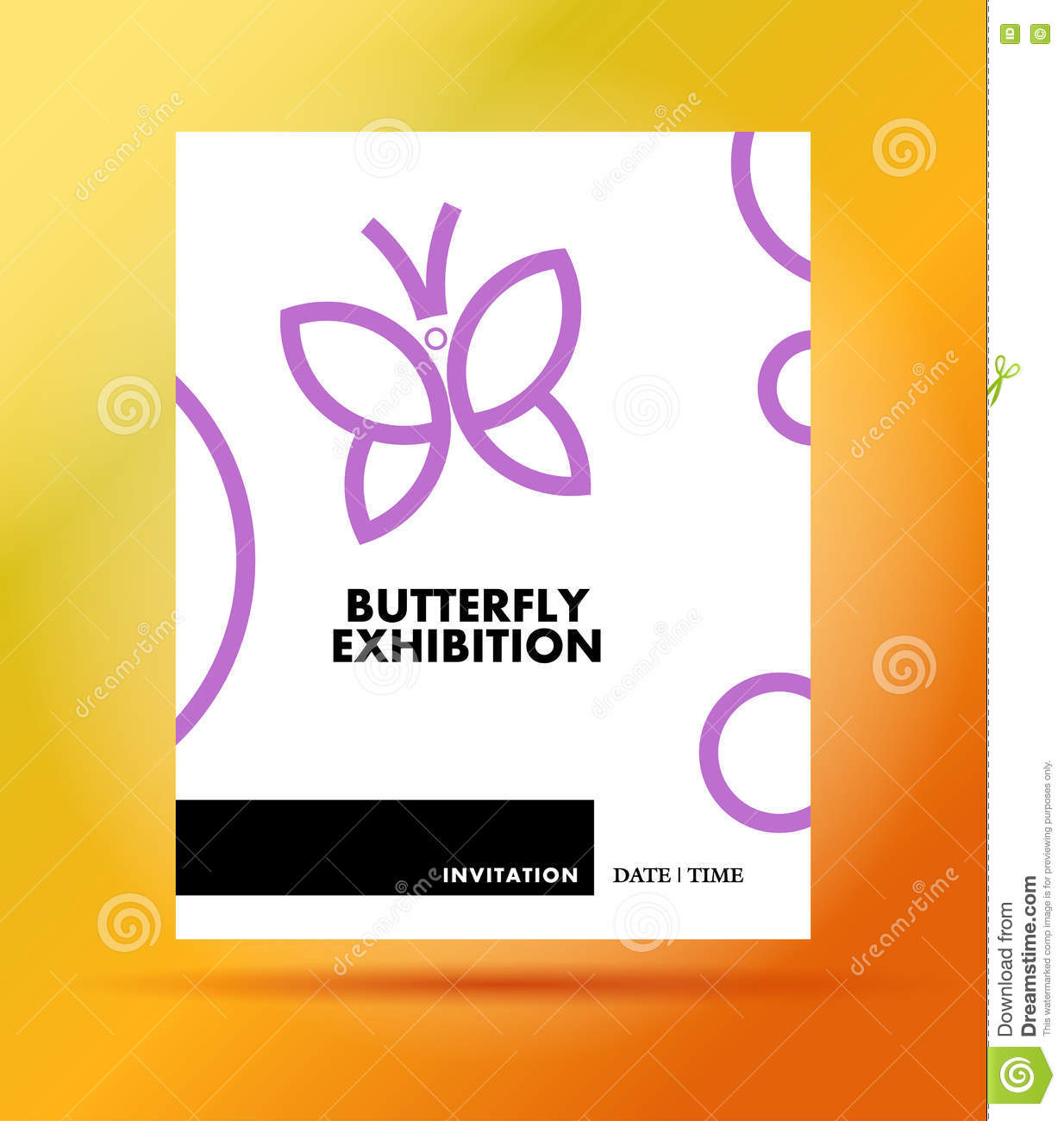 Vector Flat Simple Minimalistic Butterfly Exhibition Invitation