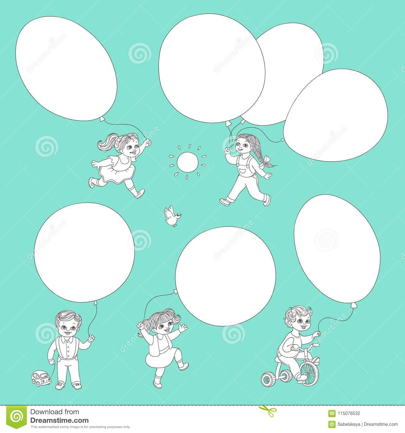 413eafd50 Vector flat sketch little girls, boys child and big air balloons in summer  clothing smiling. Happy female, male kid characters celebration party  coloring ...