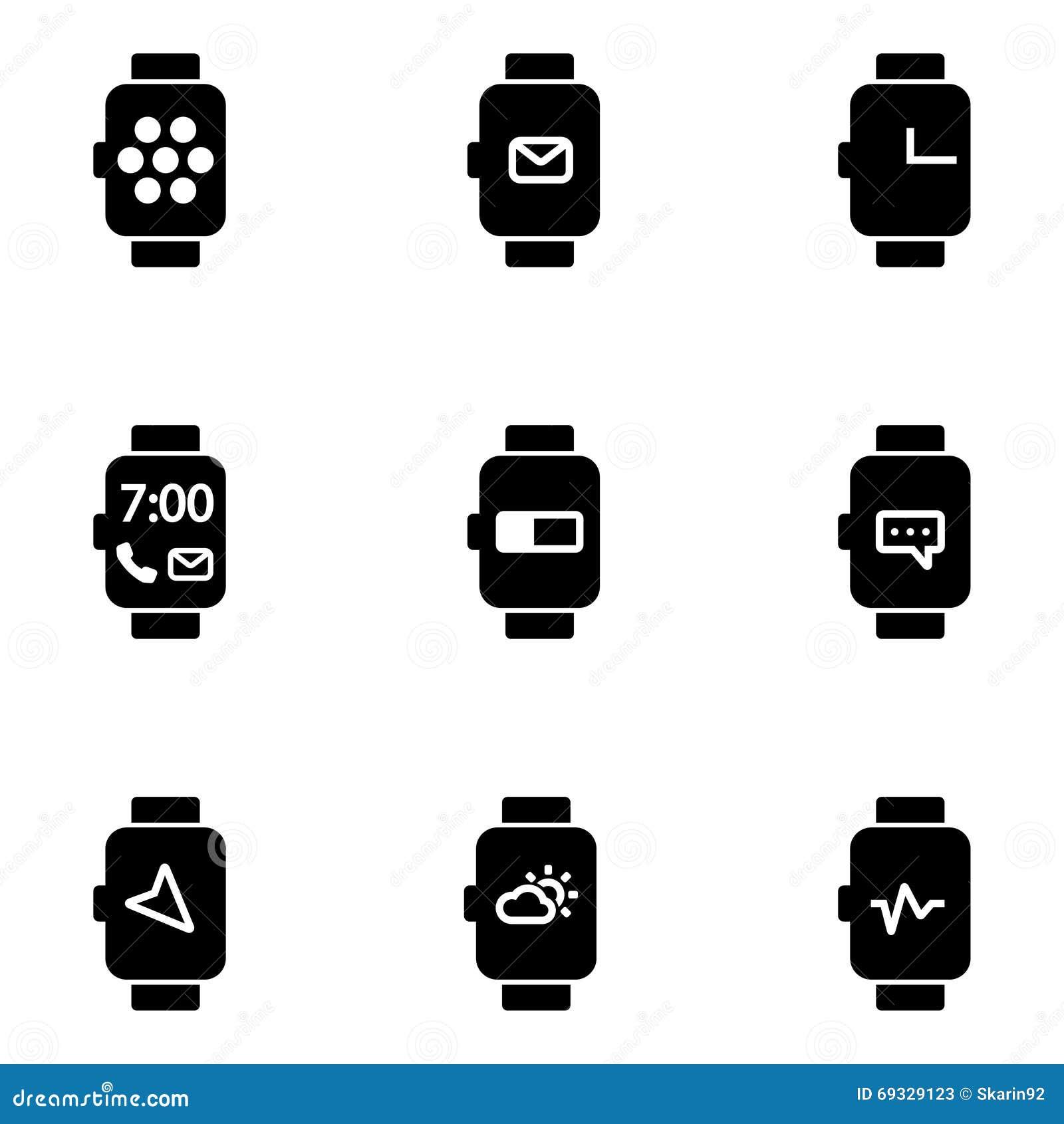 vector flat smart watch icon stock illustration