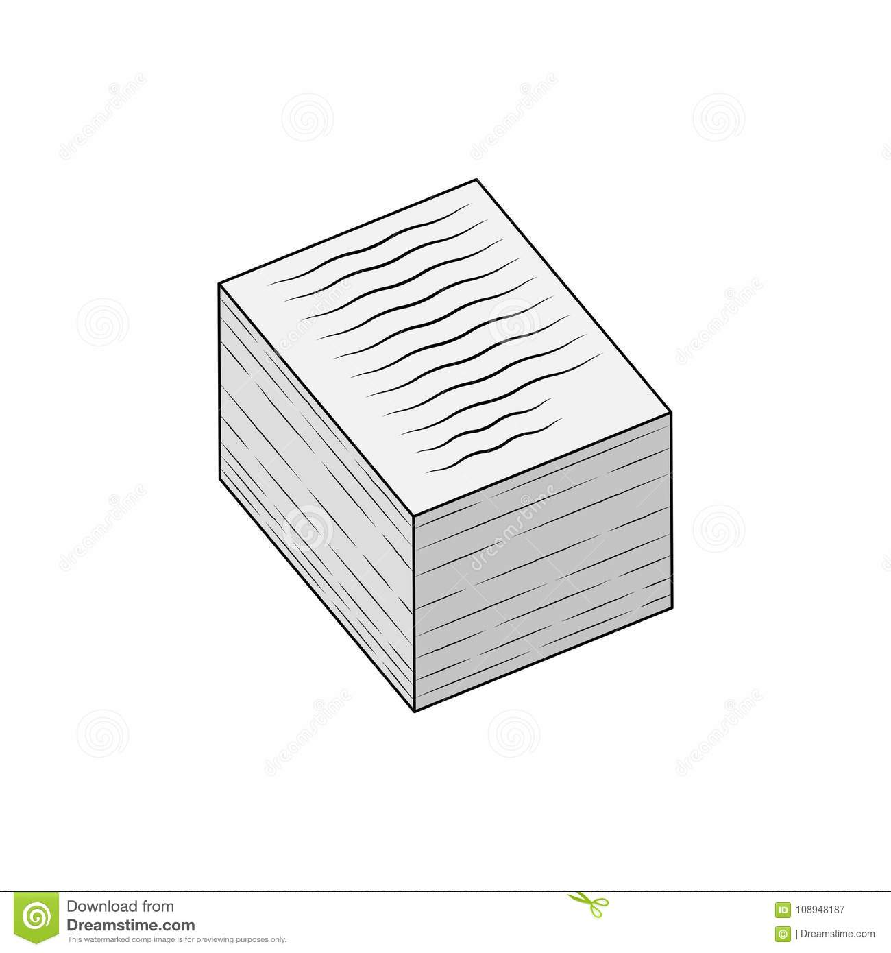 stack of papers icon, isolated on white stock vector - illustration