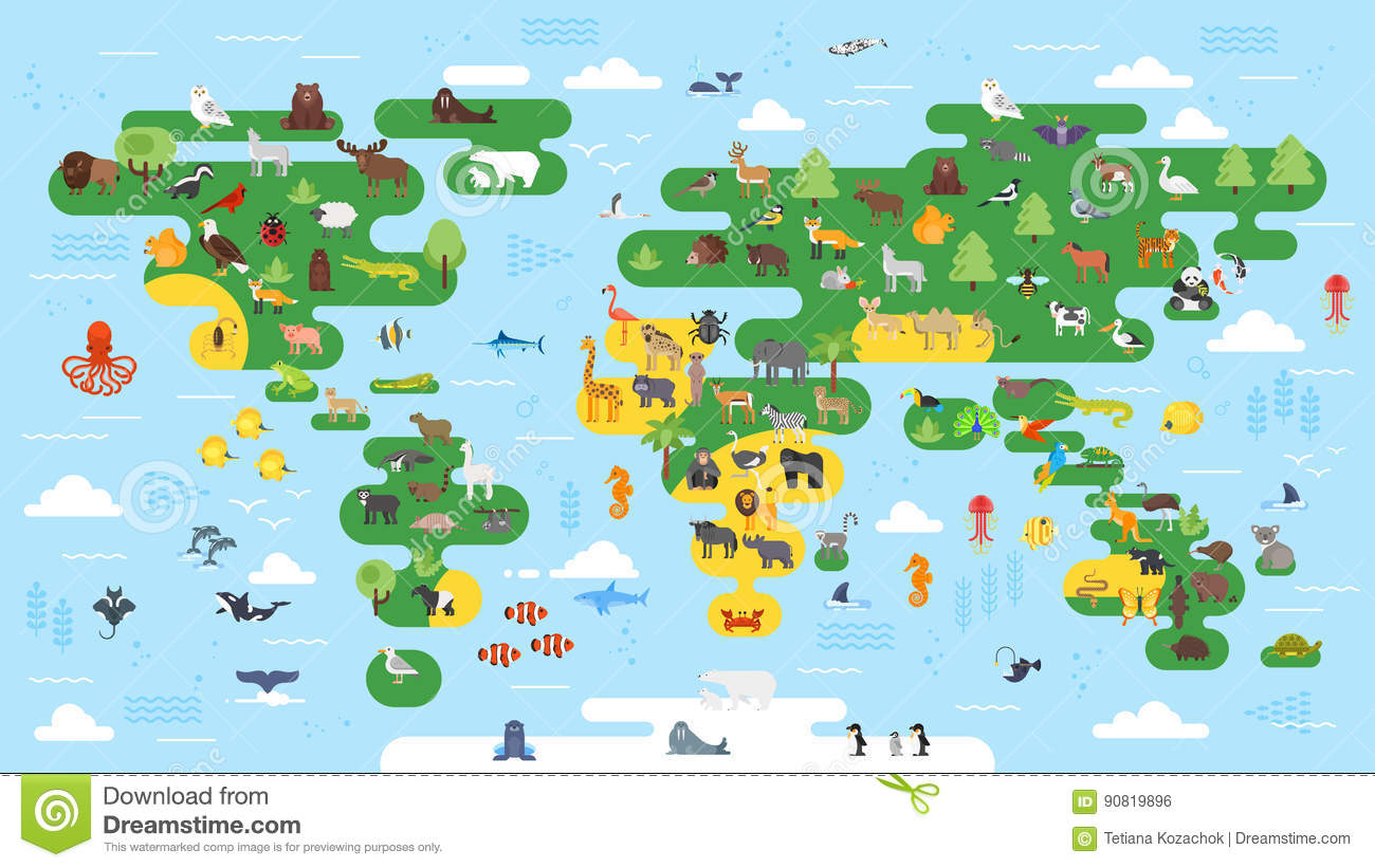 Vector Flat Style Big Abstract World Map Animals Colorful Illustration Children All Continents Preschool on desert art for preschool