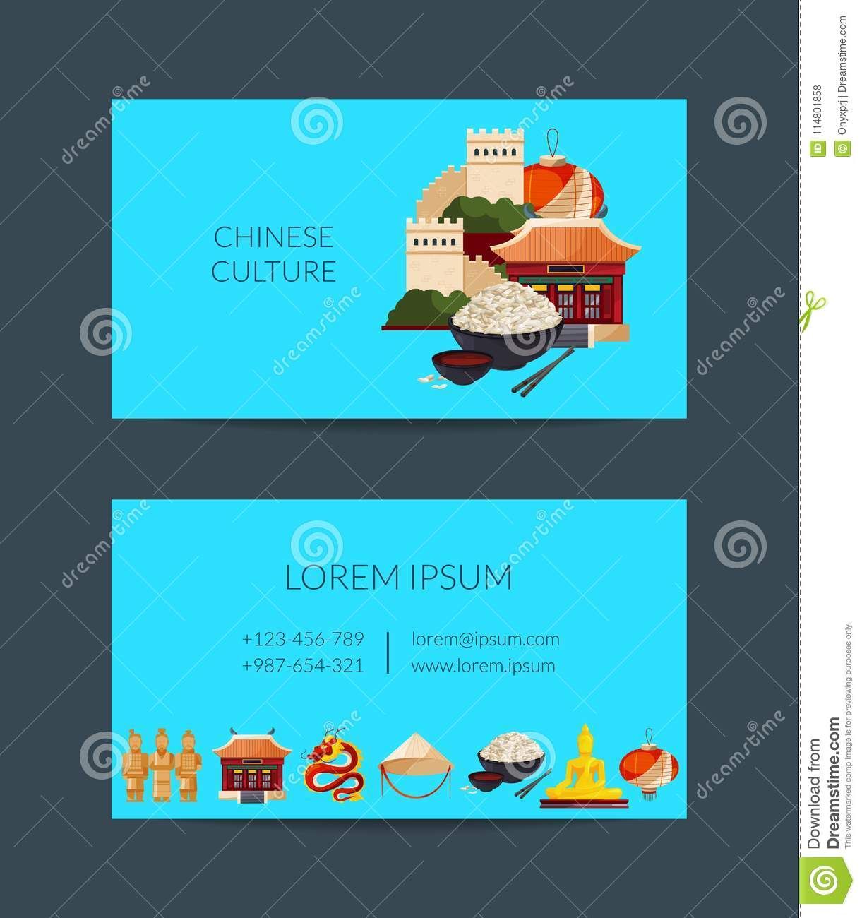 Vector flat style china elements and sights stock vector download comp reheart Image collections